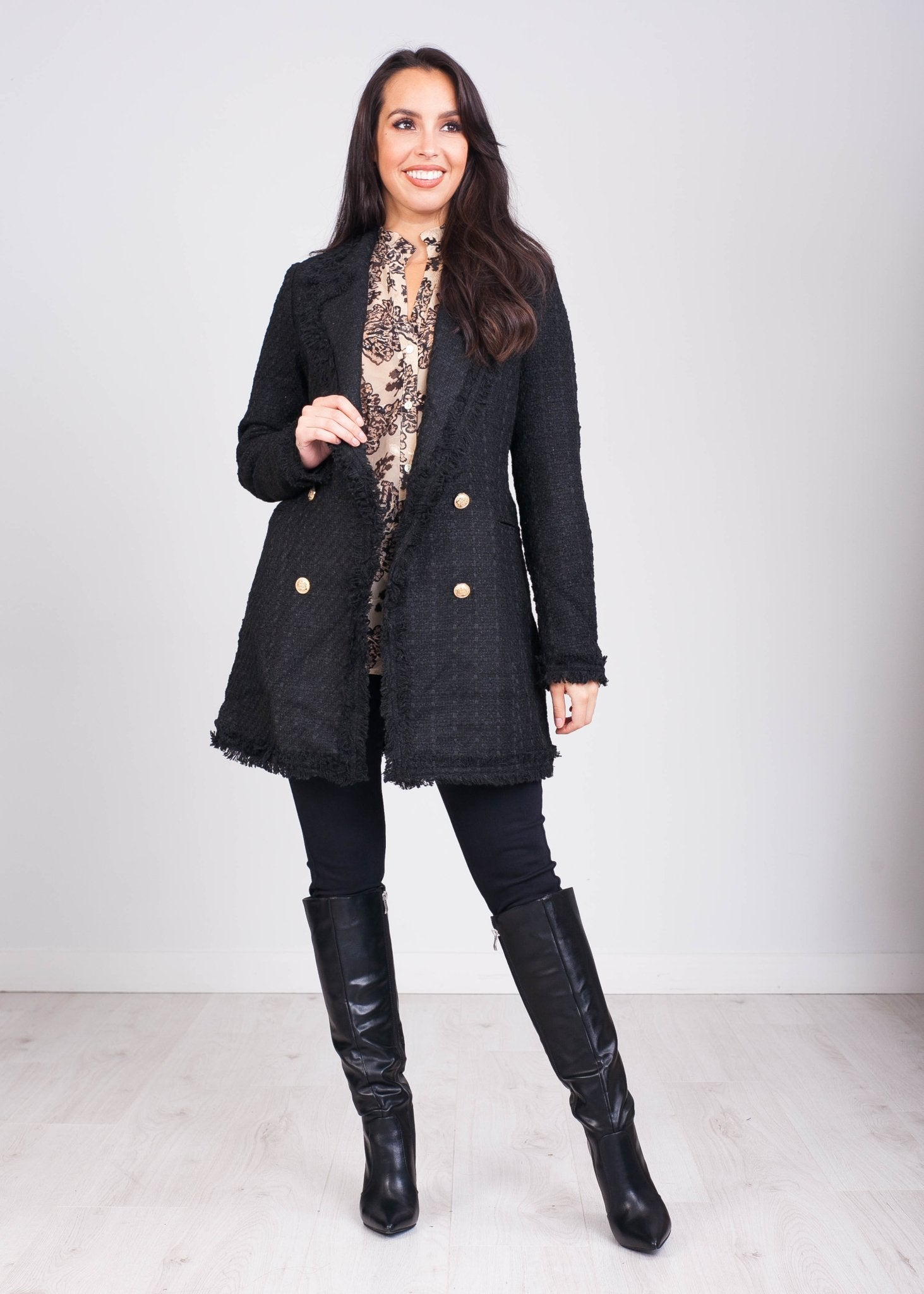 Arabella Black Tweed Longline Blazer - The Walk in Wardrobe