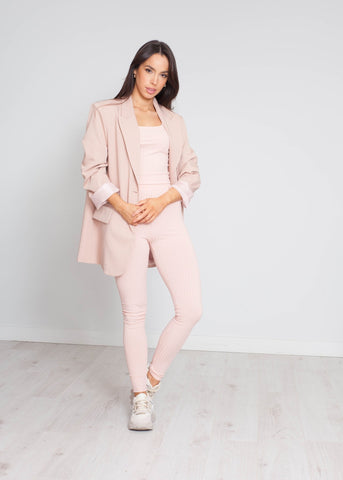 Arabella Boyfriend Blazer In Blush - The Walk in Wardrobe
