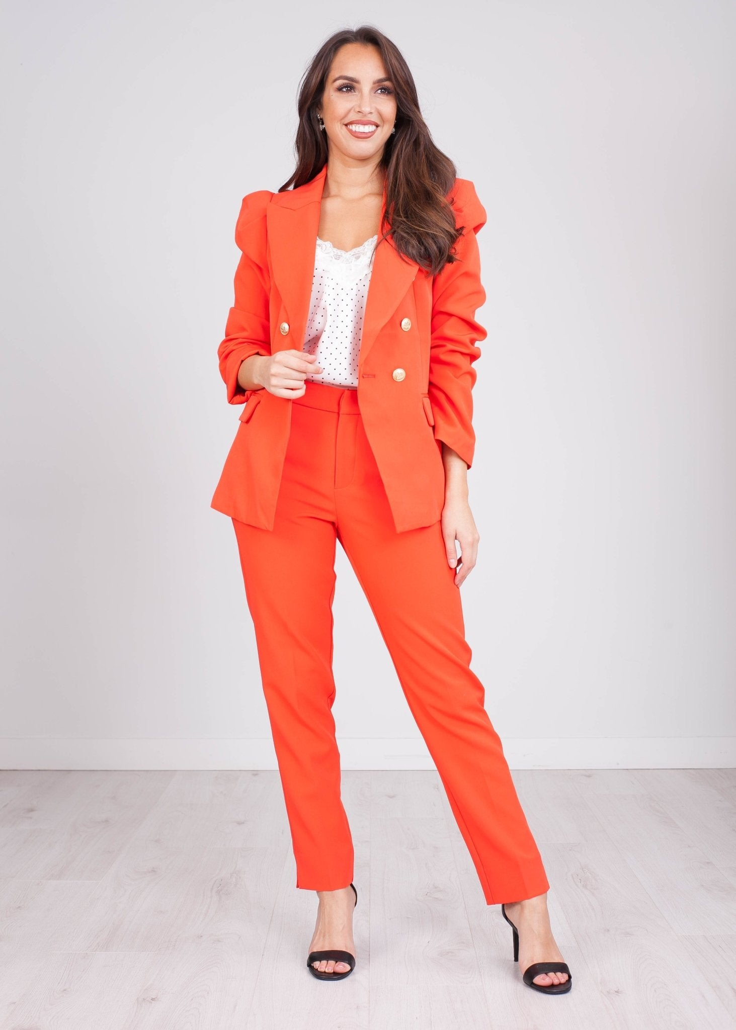 Arabella Coral Red Blazer - The Walk in Wardrobe