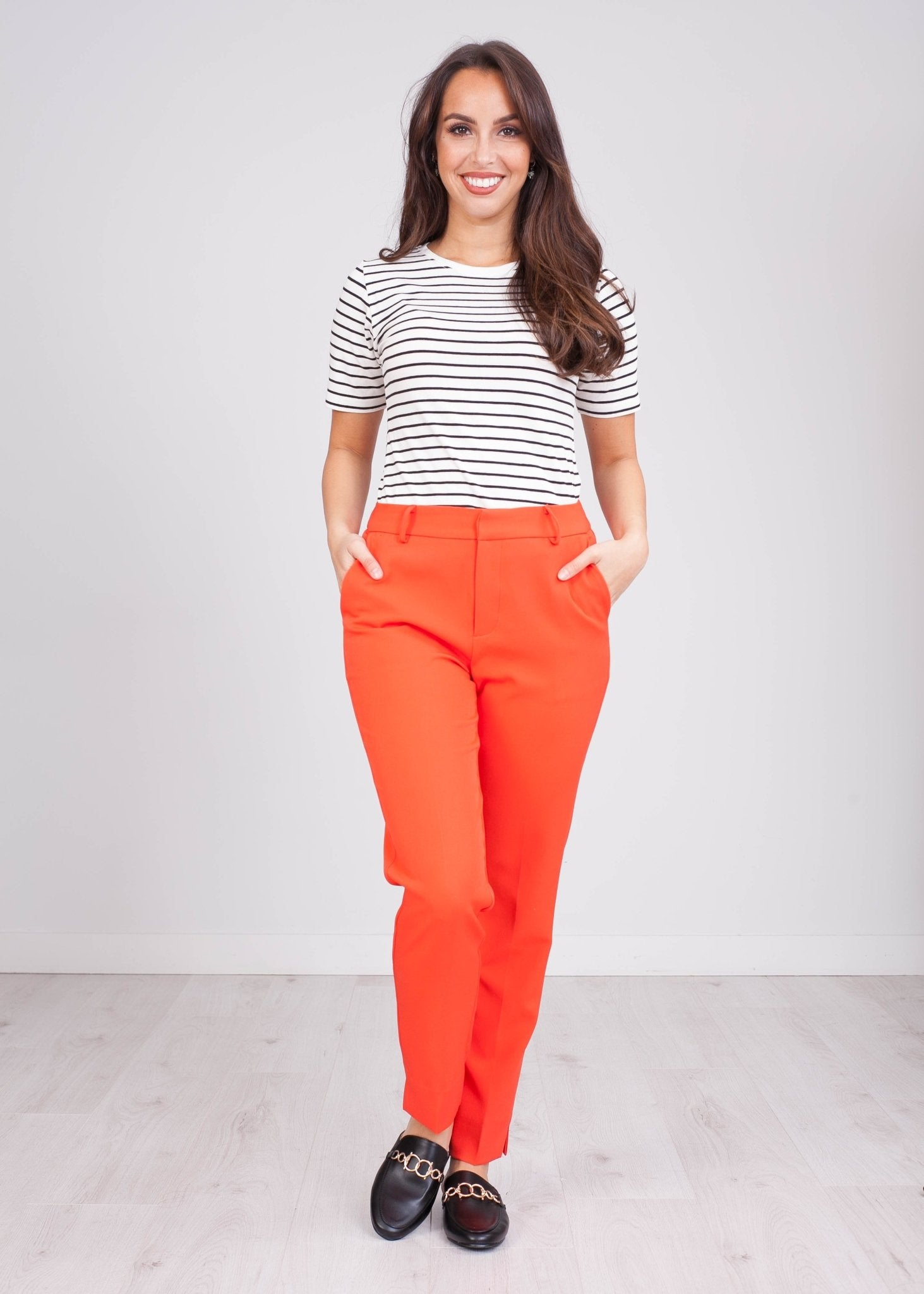 Arabella Coral Red Trousers - The Walk in Wardrobe