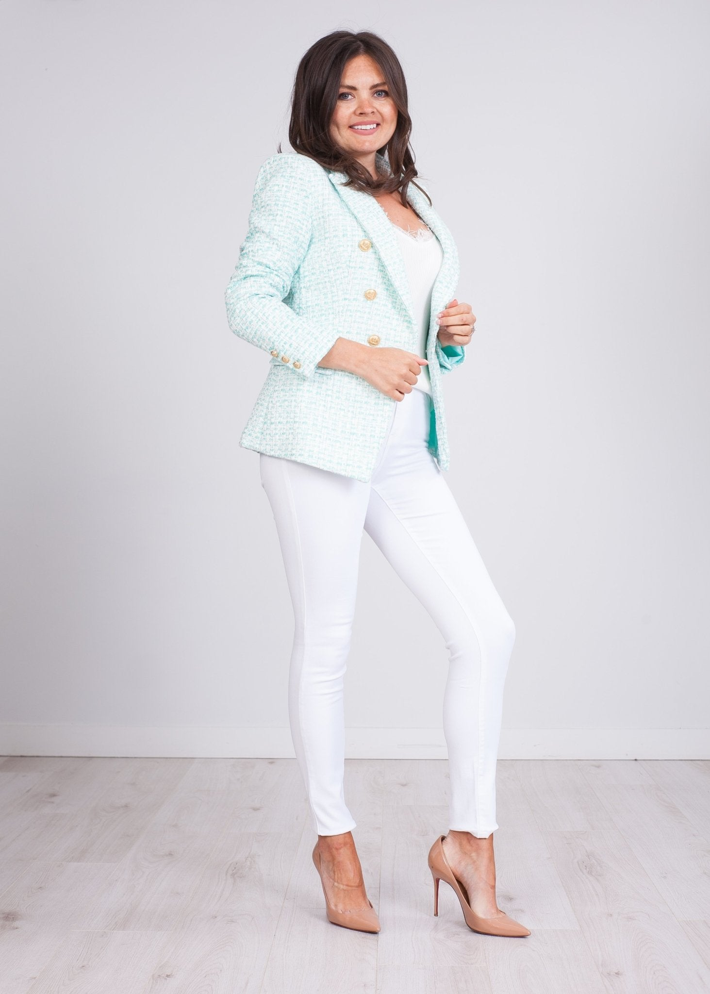 Arabella Mint & White Blazer - The Walk in Wardrobe