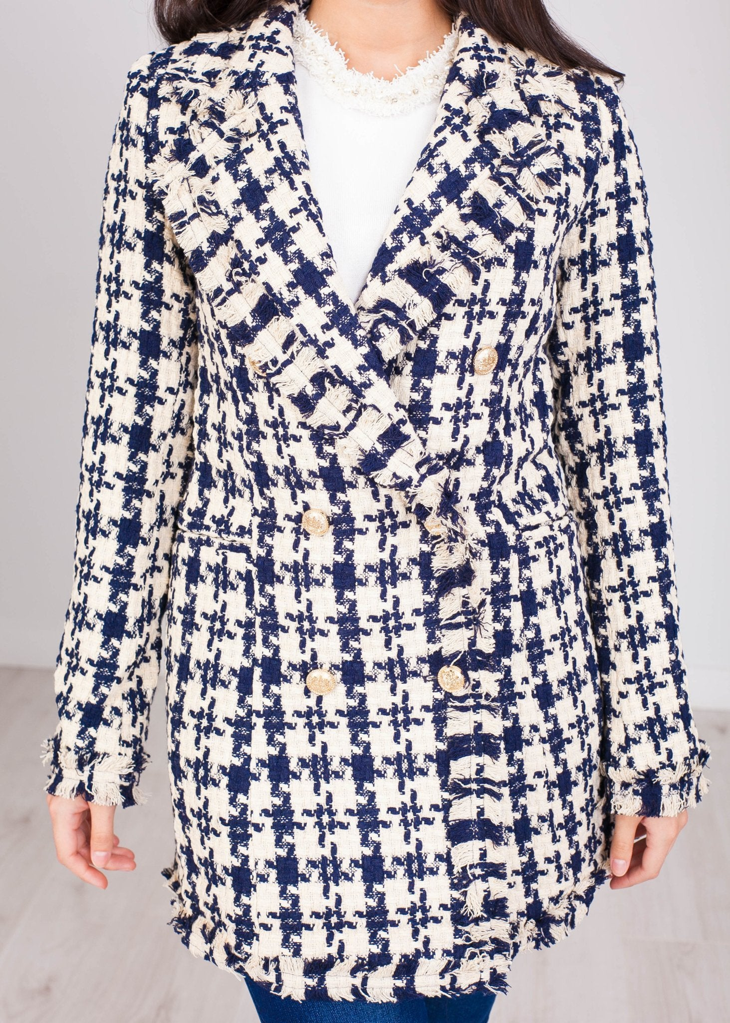 Arabella Navy and Cream Longline Blazer - The Walk in Wardrobe