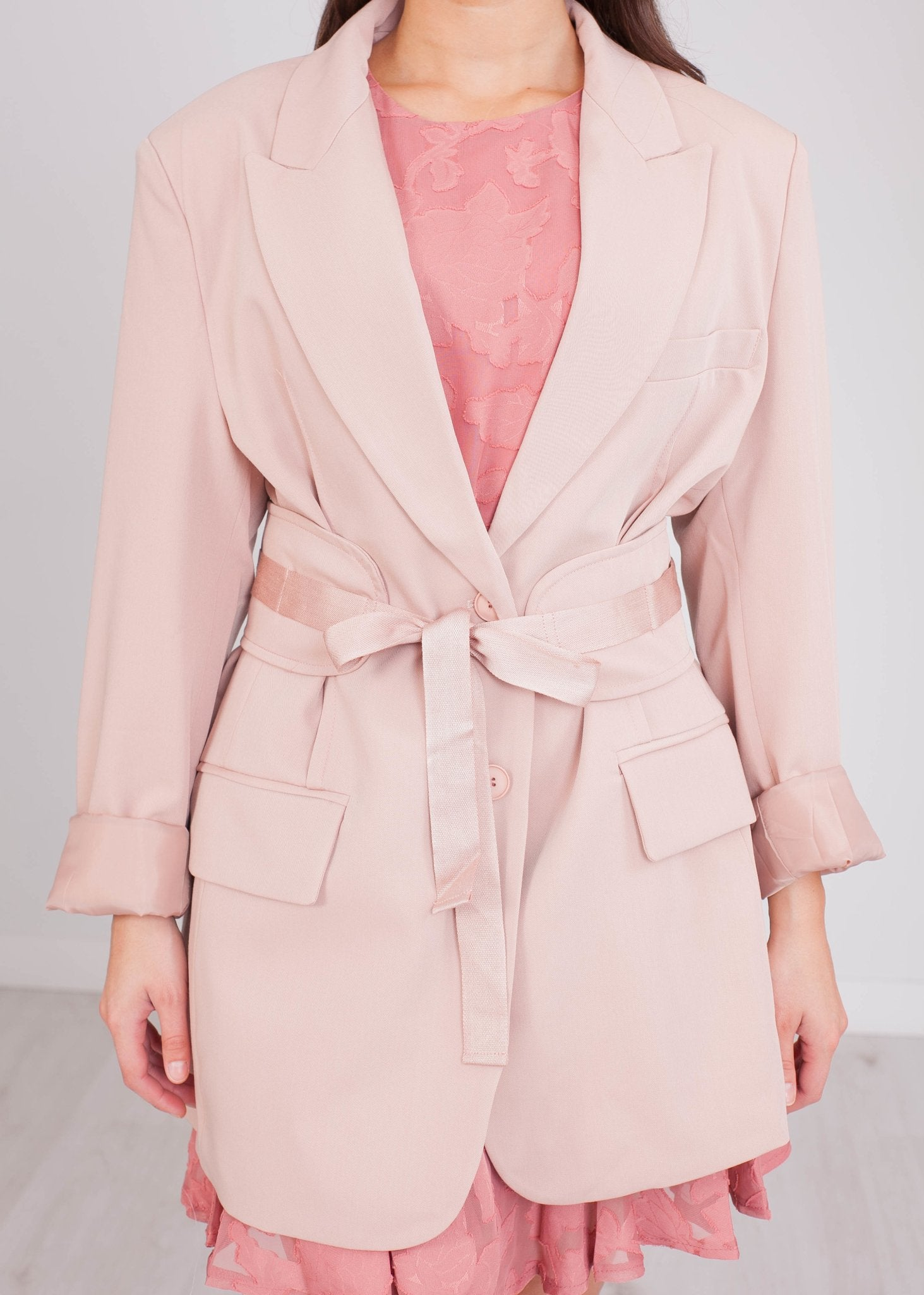Arabella Pink Belt Blazer - The Walk in Wardrobe