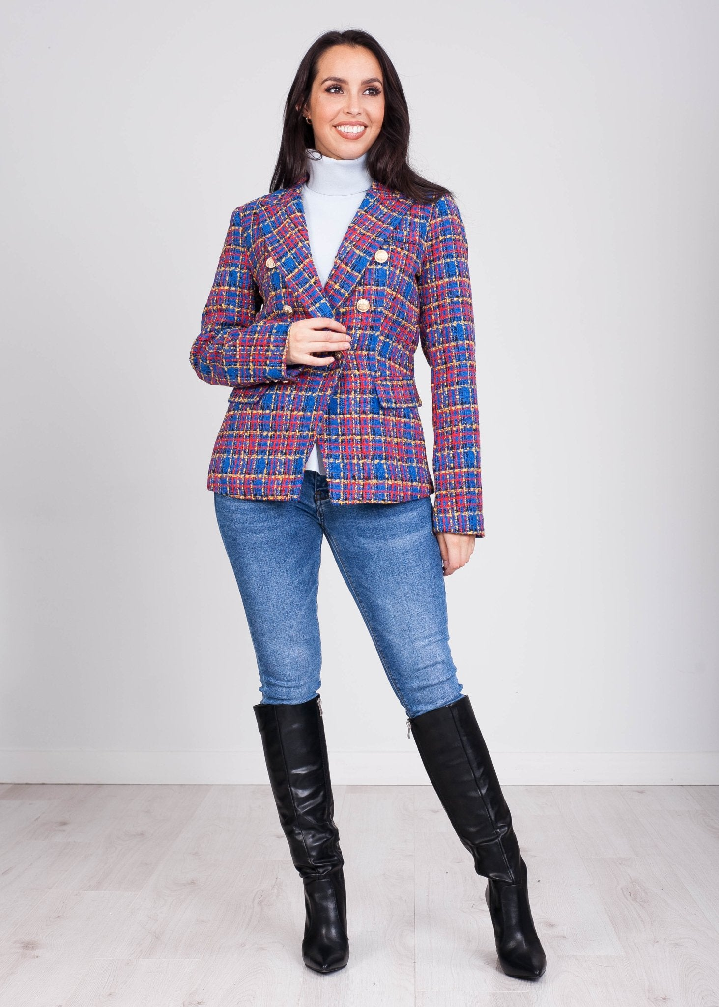 Arabella Royal Blue Tweed Blazer - The Walk in Wardrobe