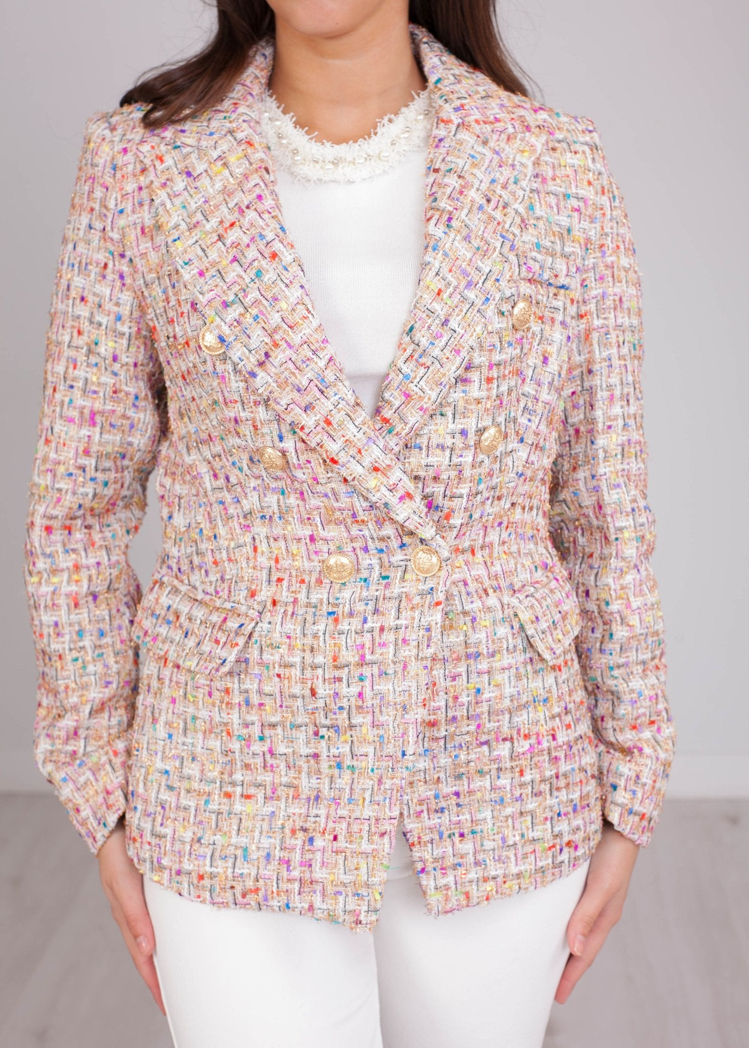 Arabella Tan Multi Tweed Blazer - The Walk in Wardrobe