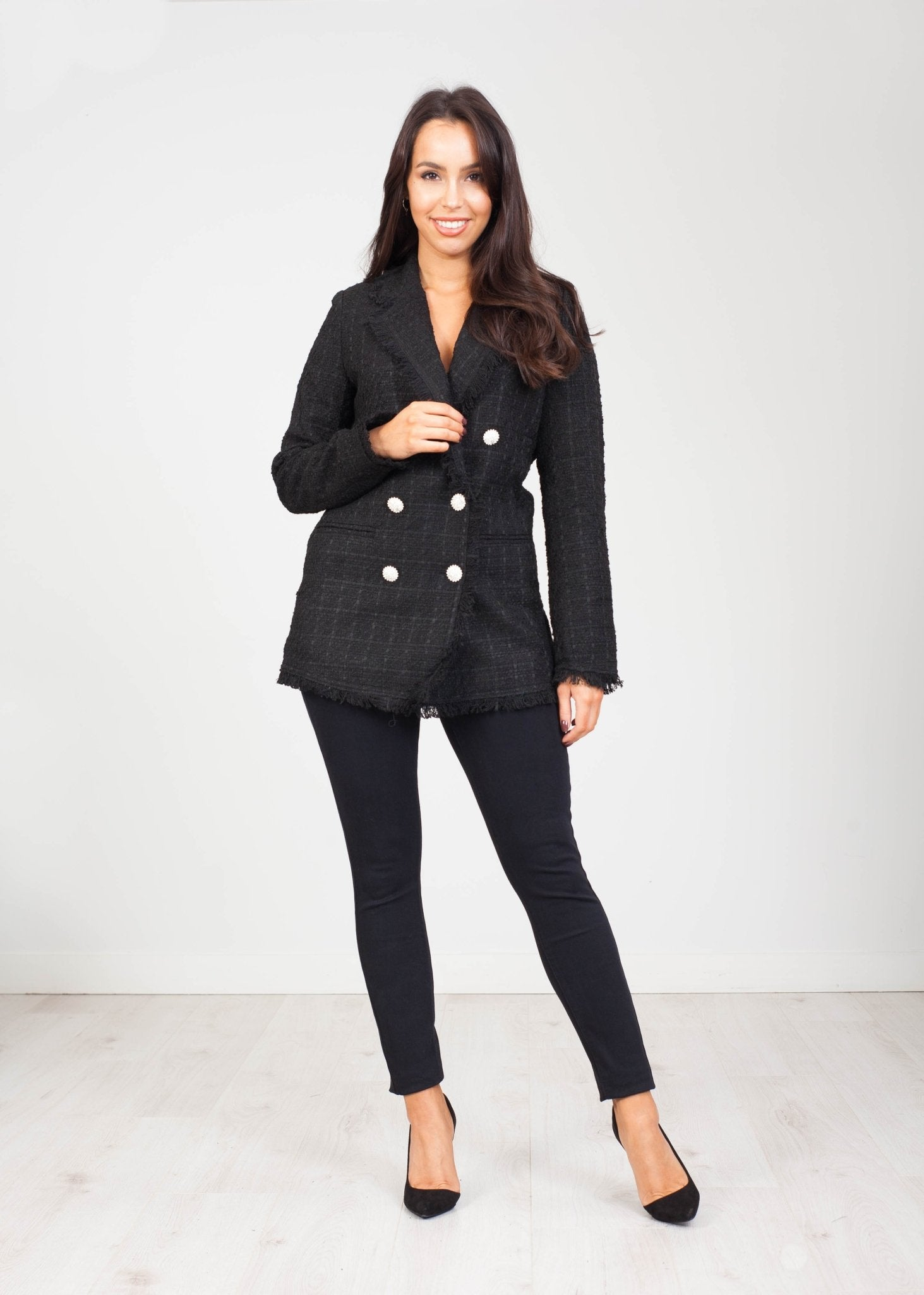 Arabella Tweed Blazer in Black - The Walk in Wardrobe