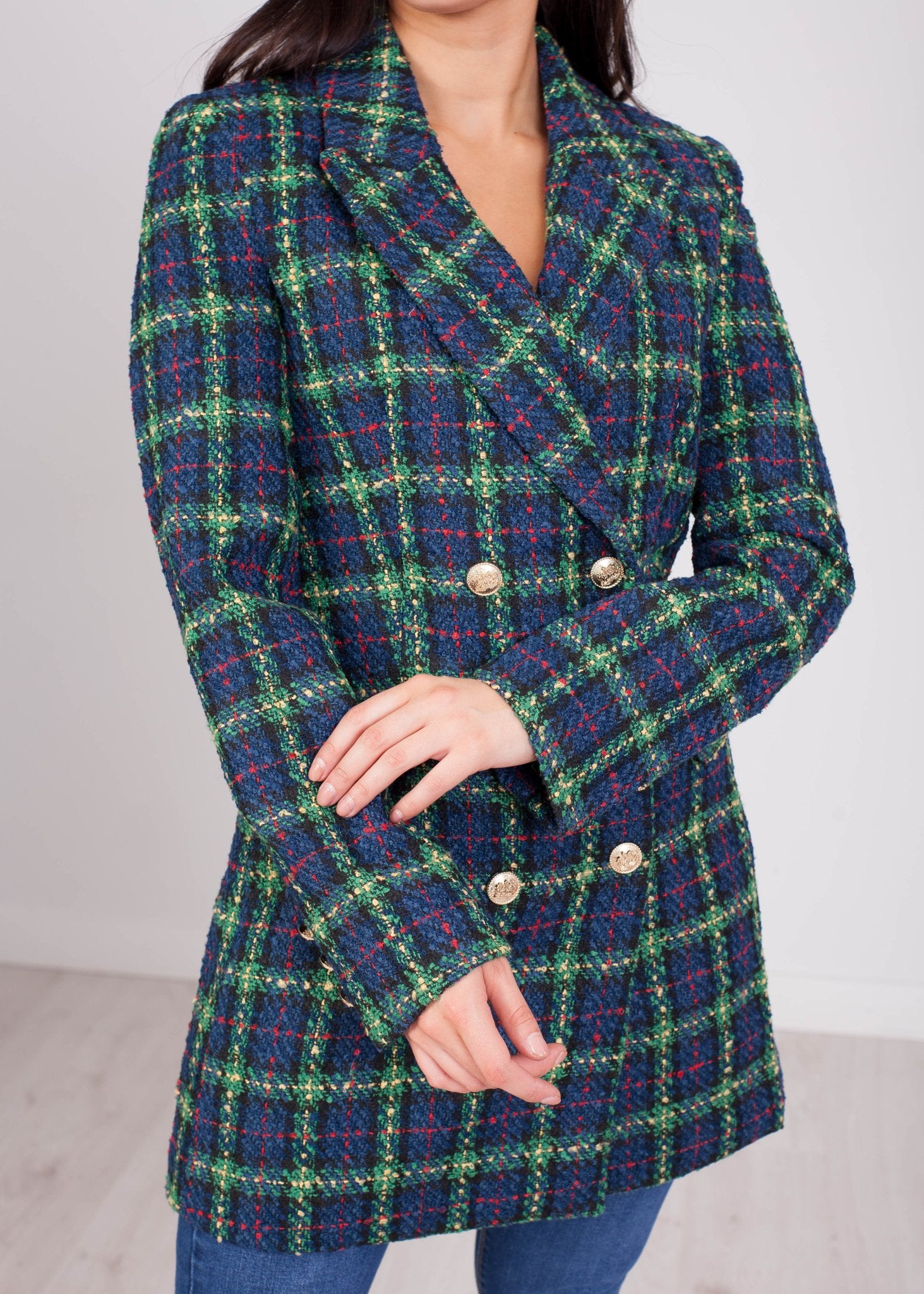 Arabella Tweed Blazer in Navy & Green - The Walk in Wardrobe