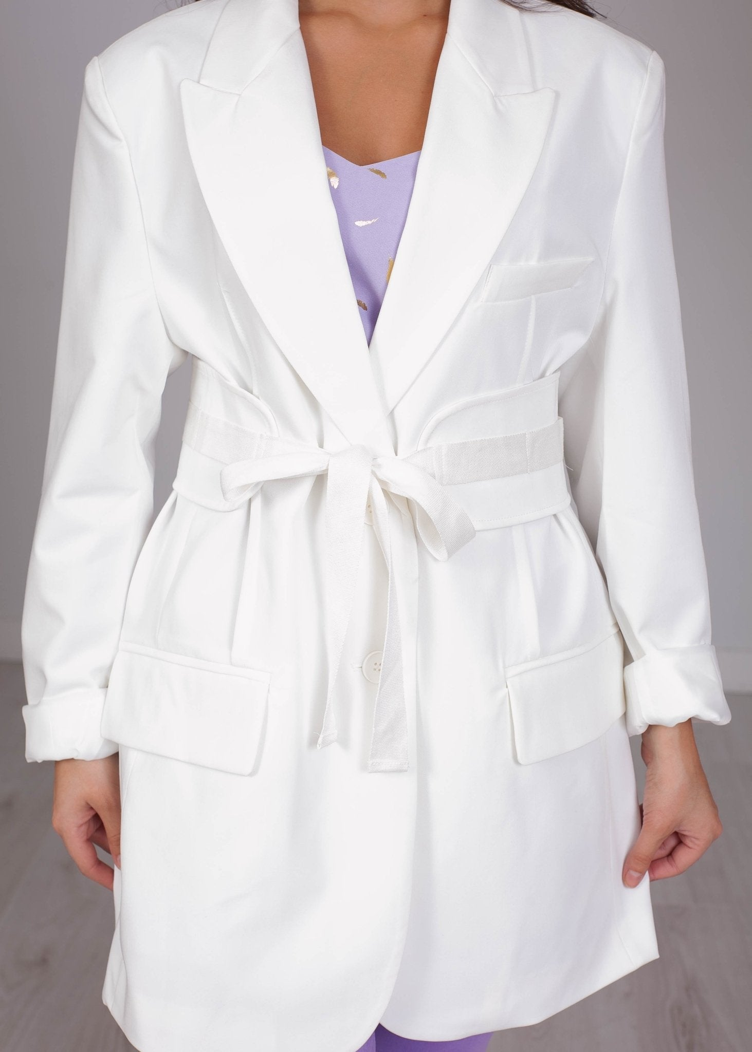 Arabella White Belt Blazer - The Walk in Wardrobe