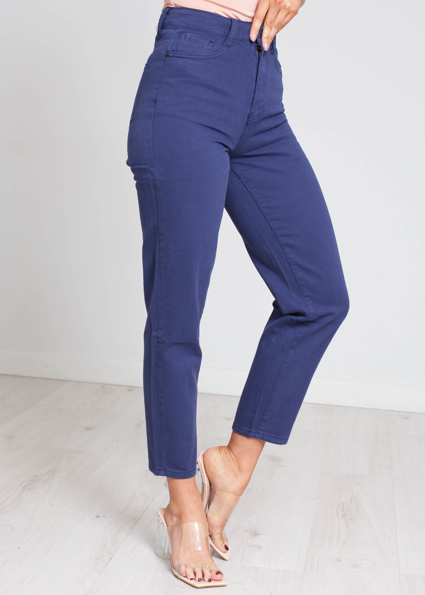 Aria High Waist Mom Jean In Navy - The Walk in Wardrobe