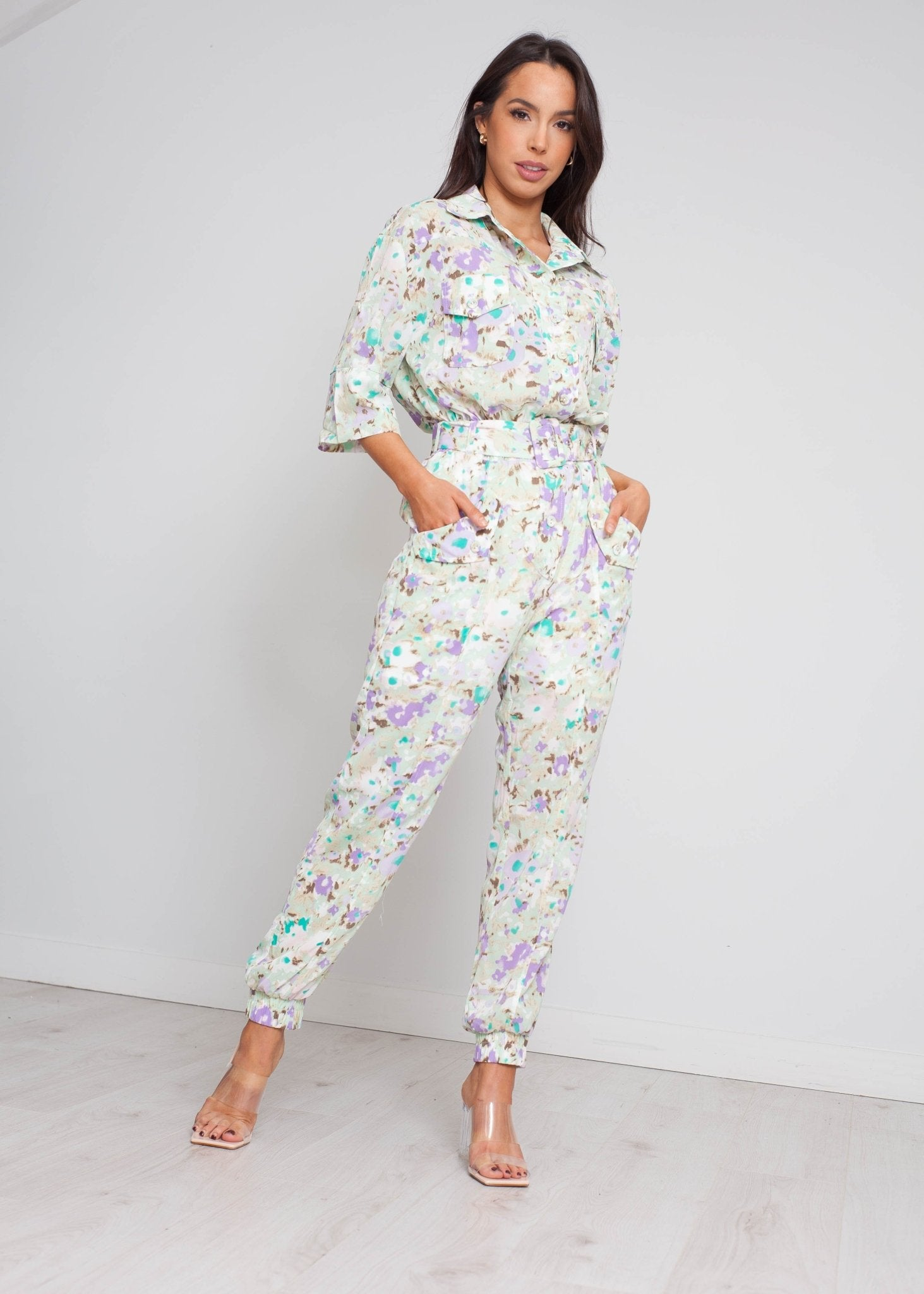 Becca Floral Jumpsuit In Green Mix - The Walk in Wardrobe