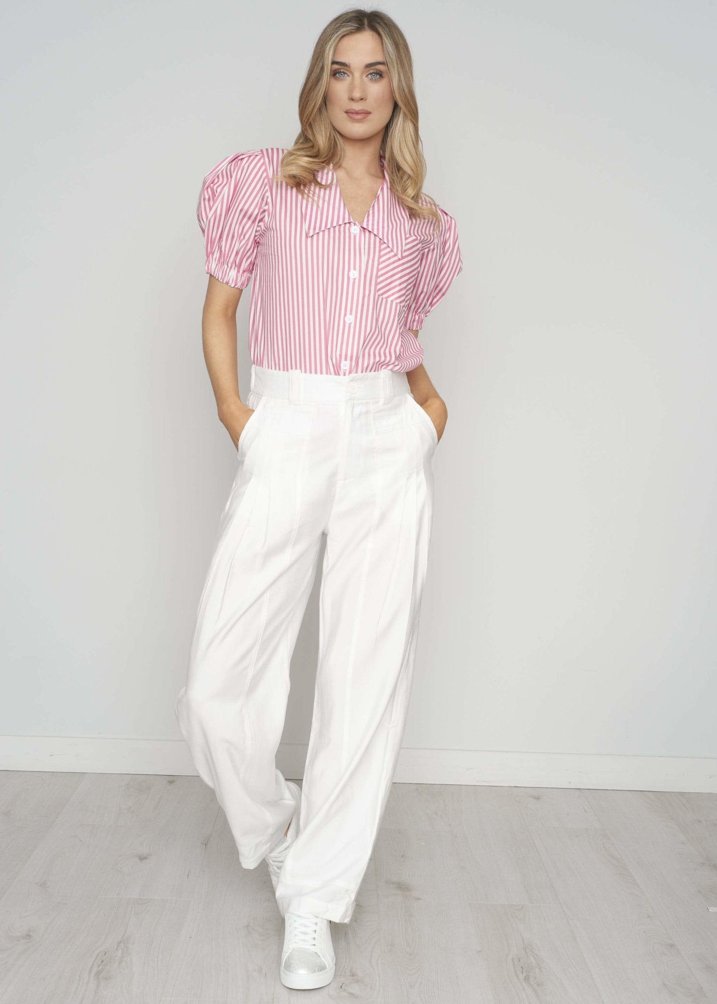 Becca High Waist Trouser In White - The Walk in Wardrobe