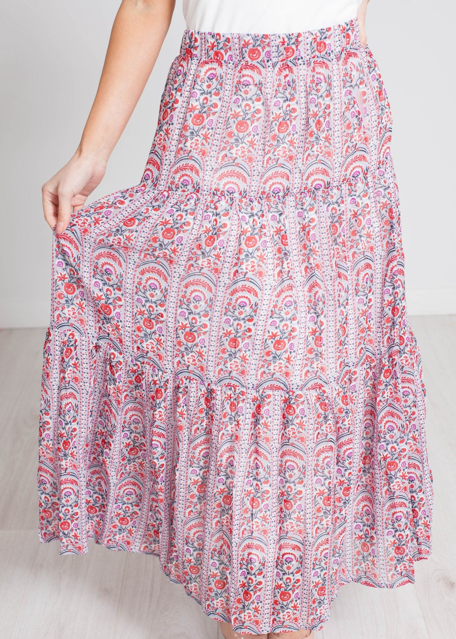 Becca Printed Maxi Skirt In Purple Mix - The Walk in Wardrobe