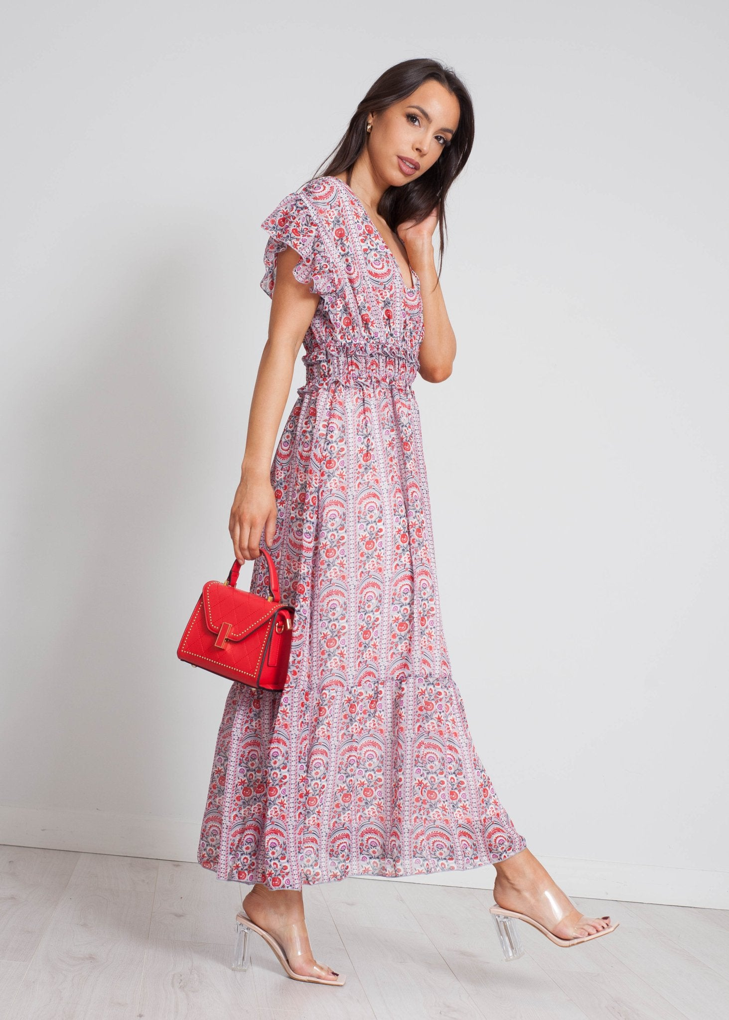 Becca Printed Midi Dress In Purple Mix - The Walk in Wardrobe