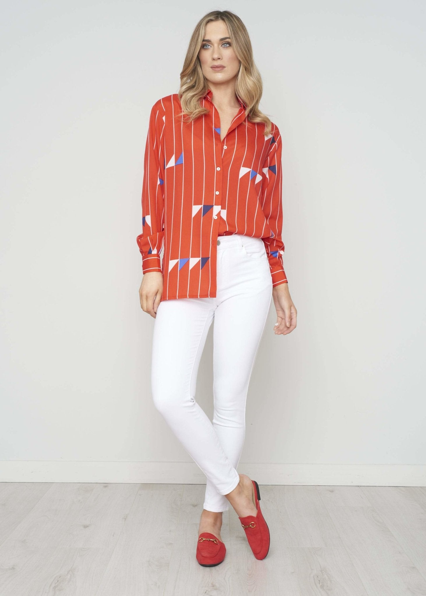 Becca Printed Shirt In Red - The Walk in Wardrobe