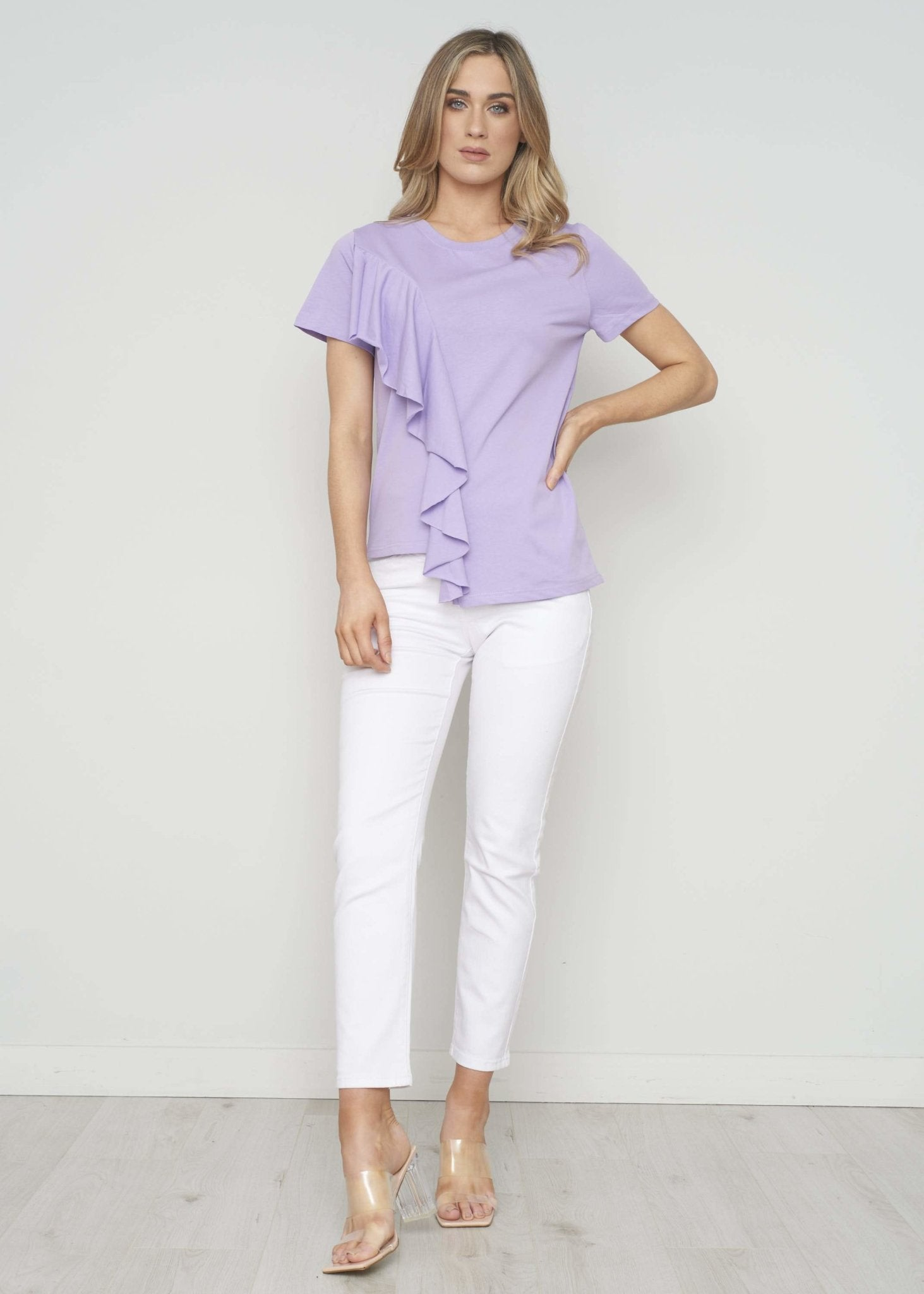 Becca Ruffle Front T-Shirt In Lilac - The Walk in Wardrobe