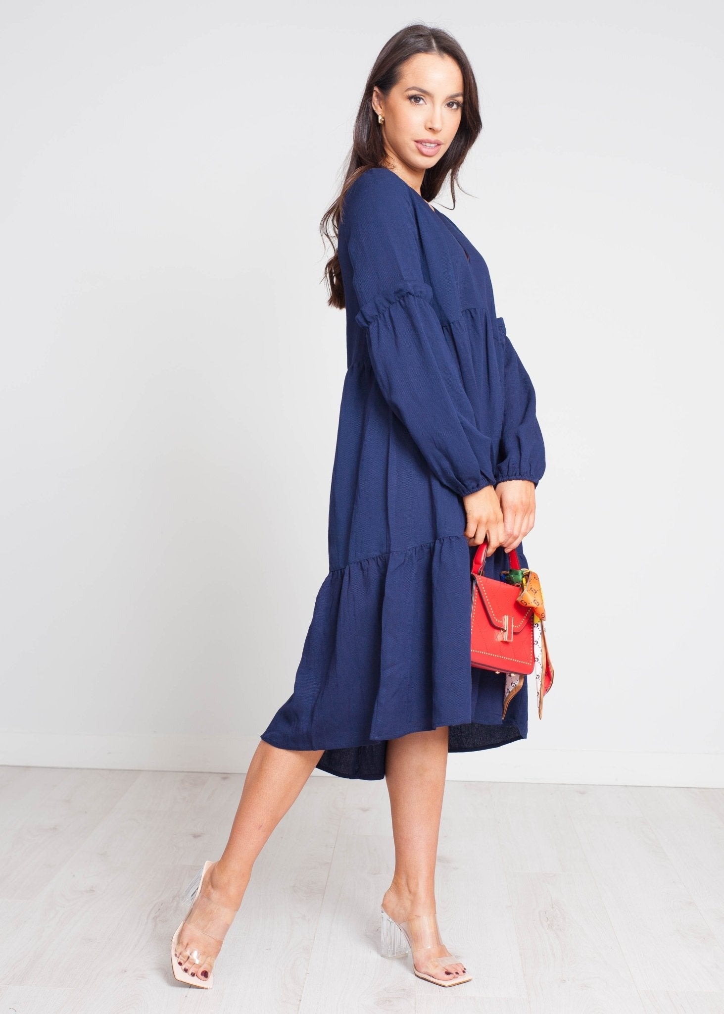 Becca Tiered Dress In Navy - The Walk in Wardrobe