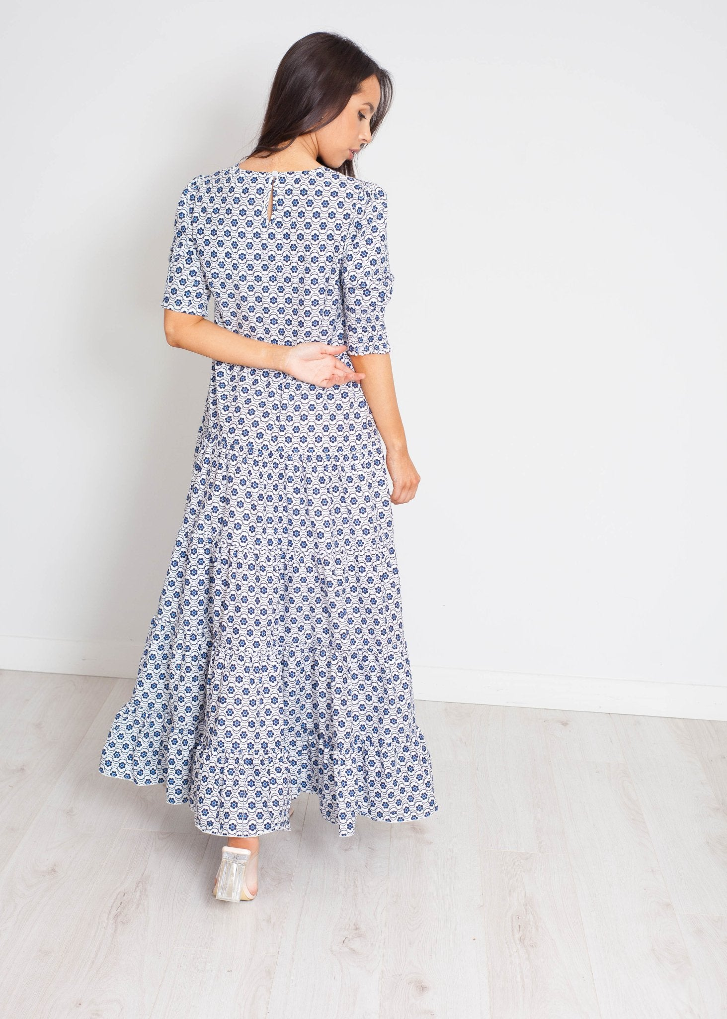 Becca Tiered Maxi Dress In Blue Floral - The Walk in Wardrobe