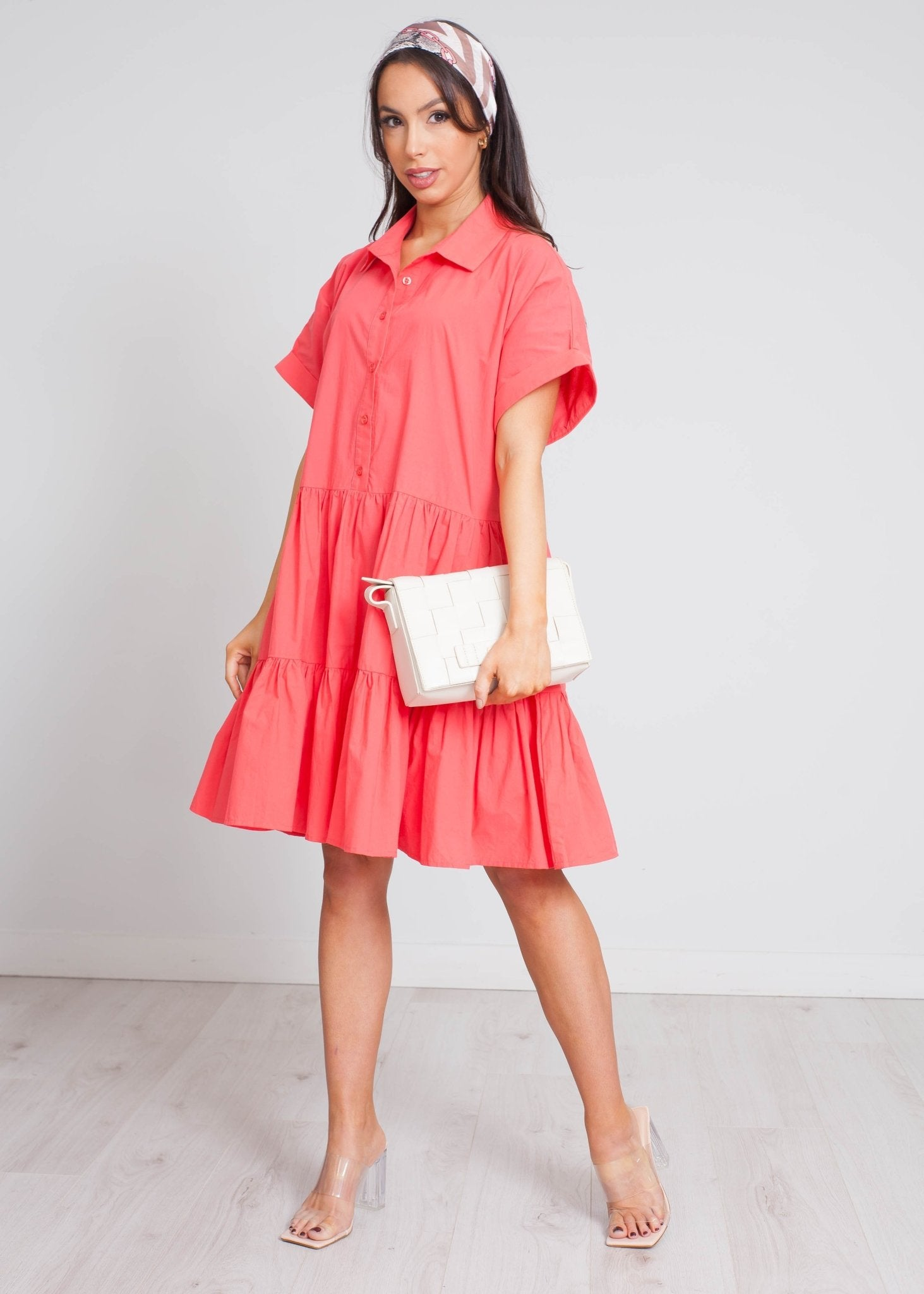 Becca Tiered Shirt Dress In Coral - The Walk in Wardrobe
