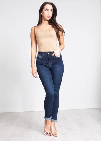 Bella Turn Up Skinny Jean In Dark Wash - The Walk in Wardrobe