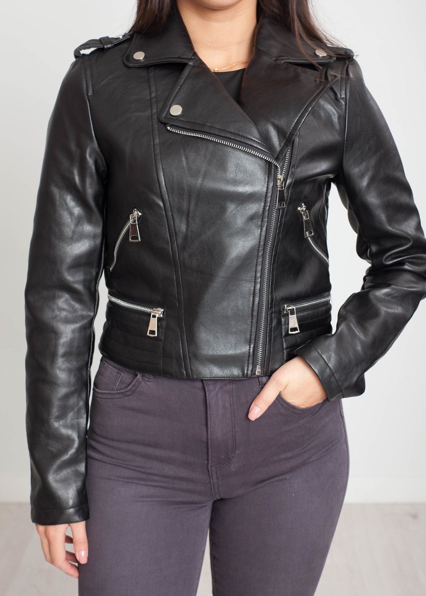 Belle Biker Jacket In Black - The Walk in Wardrobe