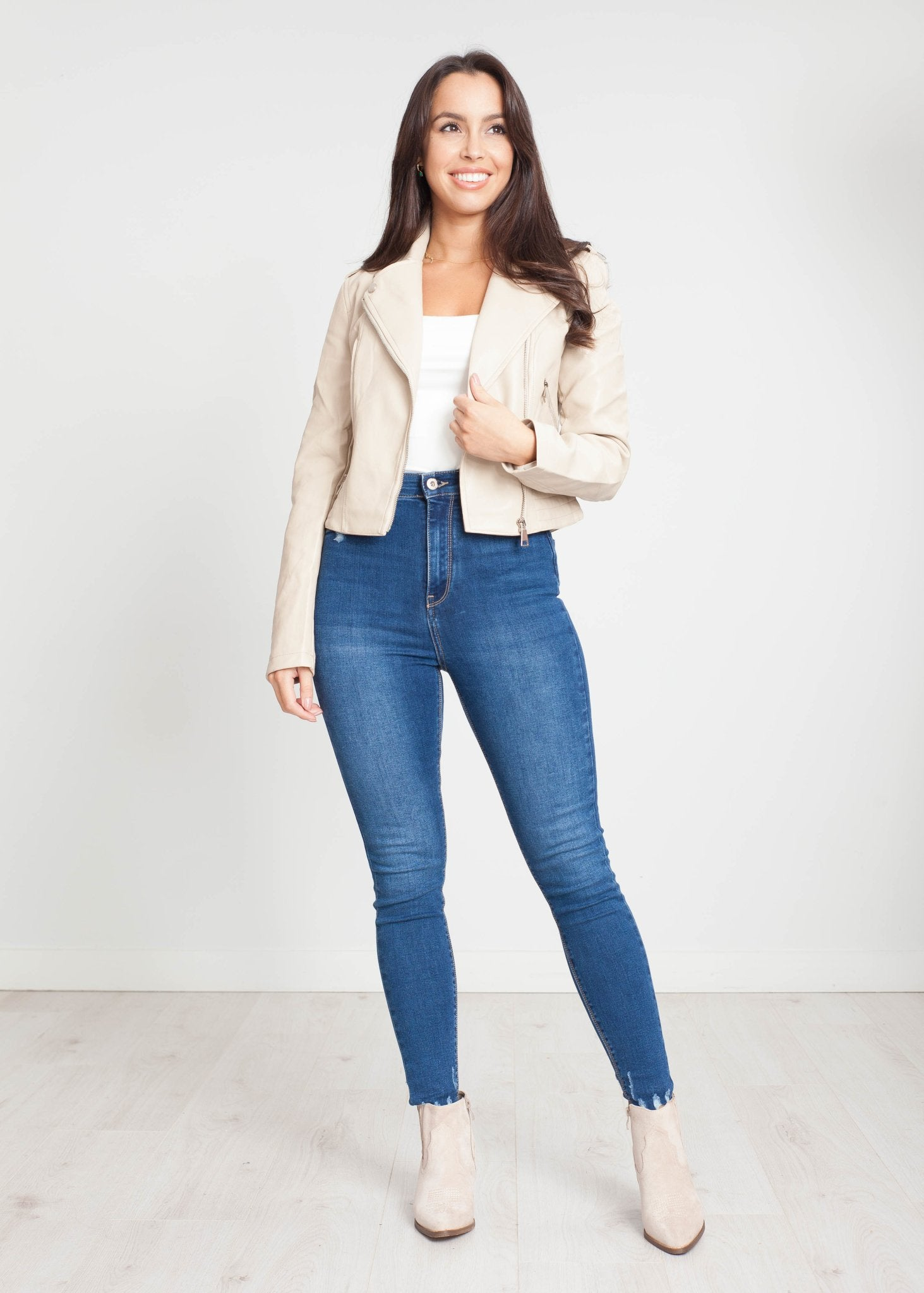 Belle Biker Jacket in Cream - The Walk in Wardrobe