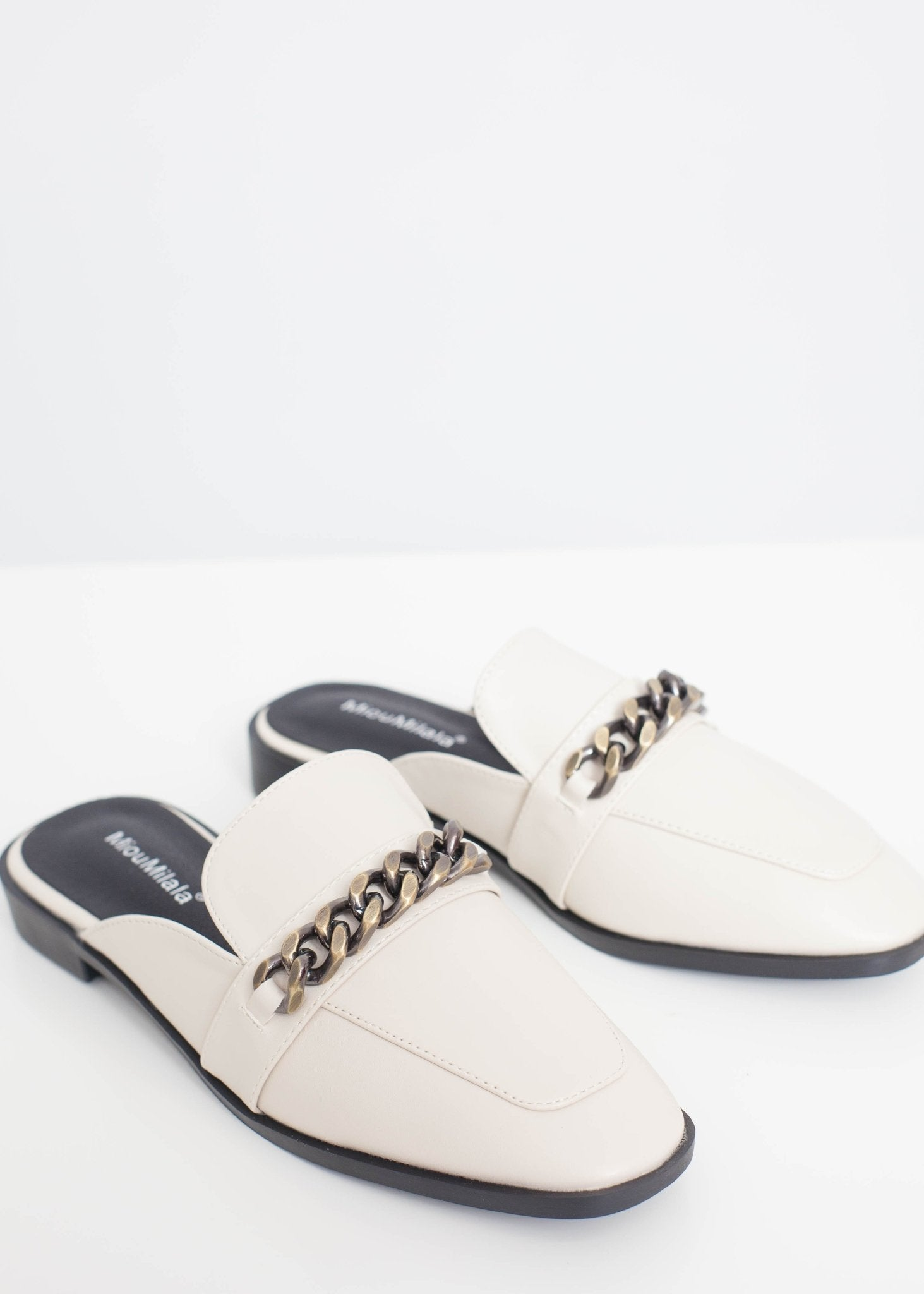 Blair Chain Link Mule In Cream - The Walk in Wardrobe