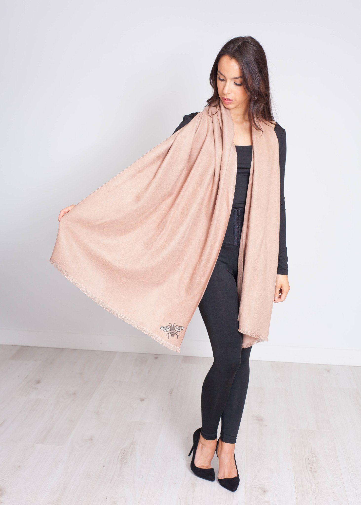 Blair Embellished Bee Scarf In Blush - The Walk in Wardrobe
