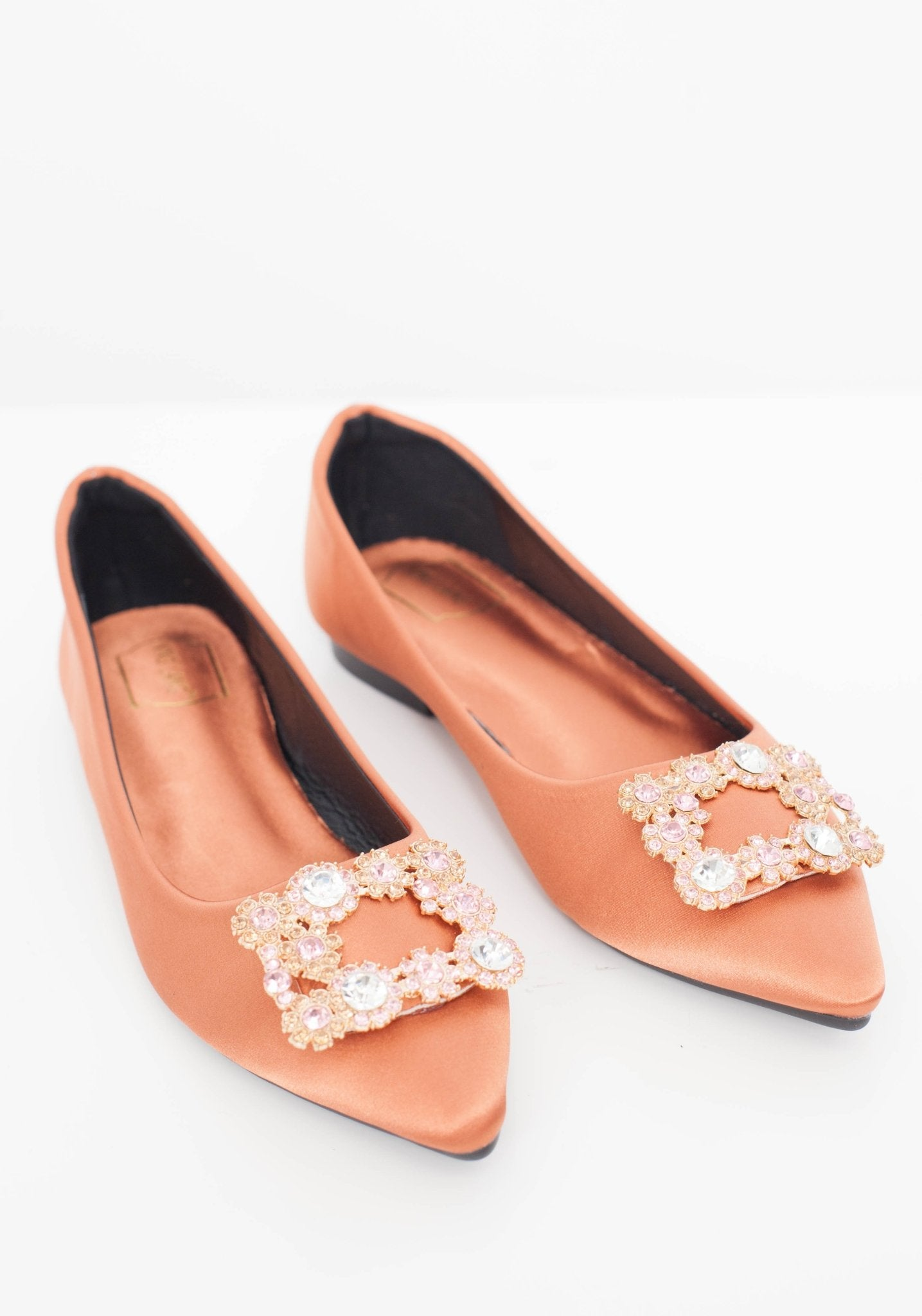 Blair Embellished Flats In Copper - The Walk in Wardrobe
