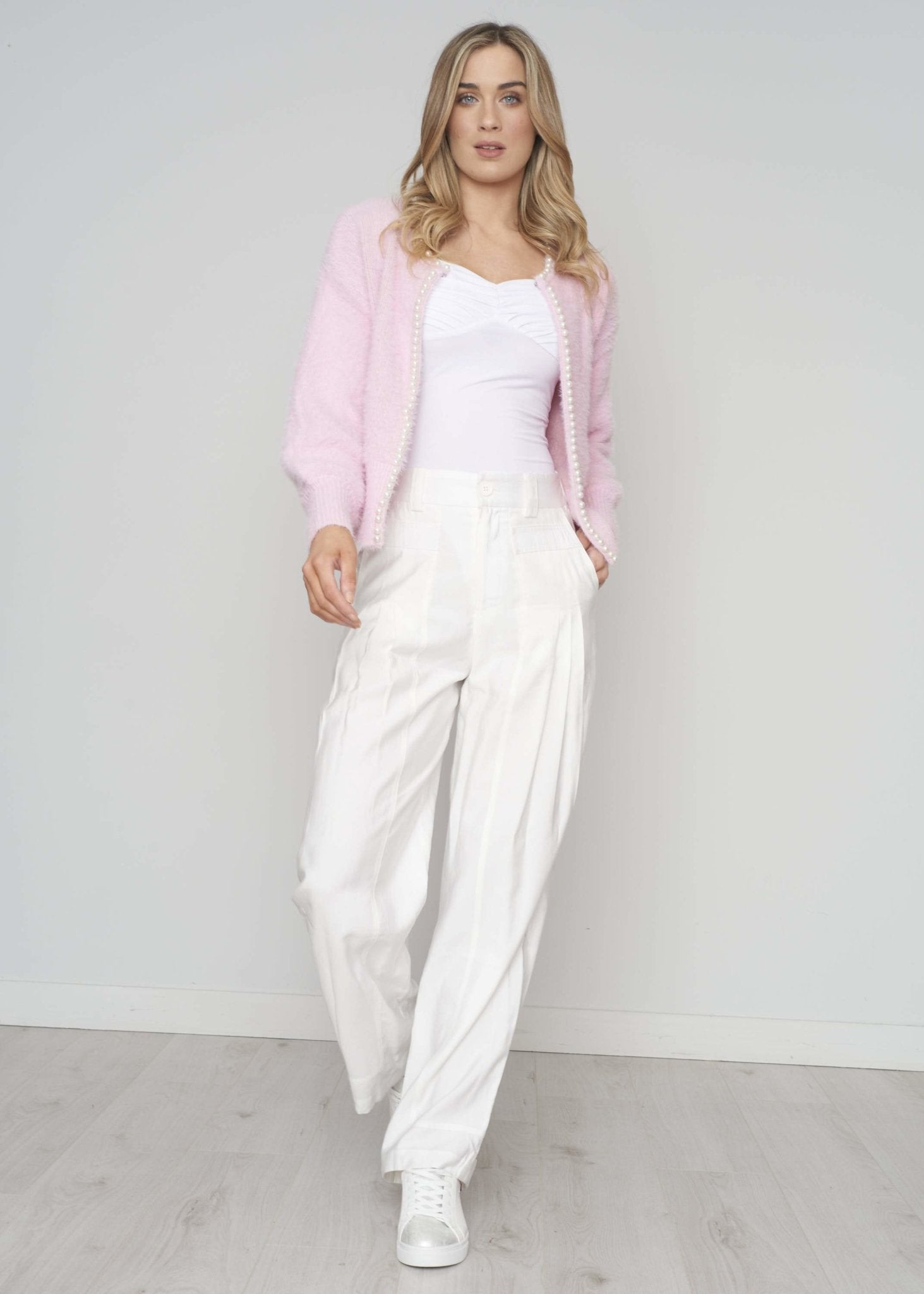 Blair Pearl Trim Cardigan In Pink - The Walk in Wardrobe