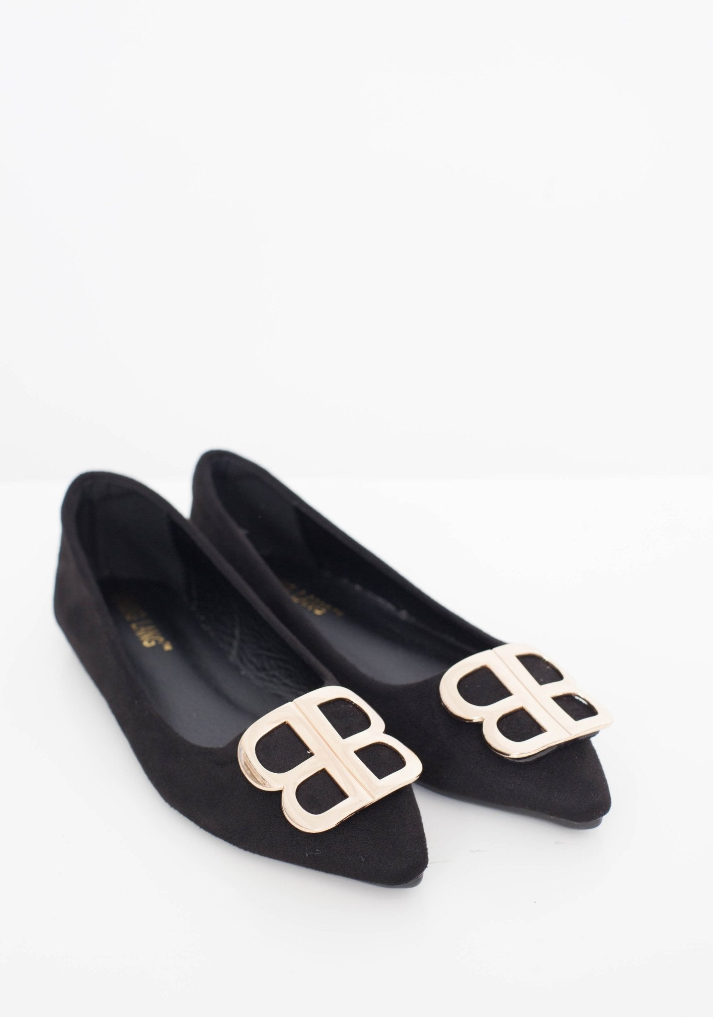 Blair Pointed Flats With Buckle In Black - The Walk in Wardrobe