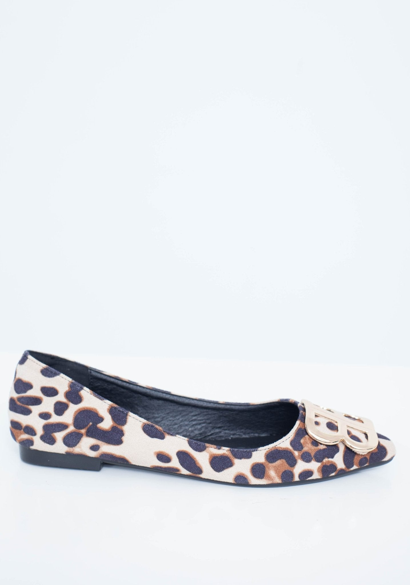 Blair Pointed Flats With Buckle In Leopard - The Walk in Wardrobe
