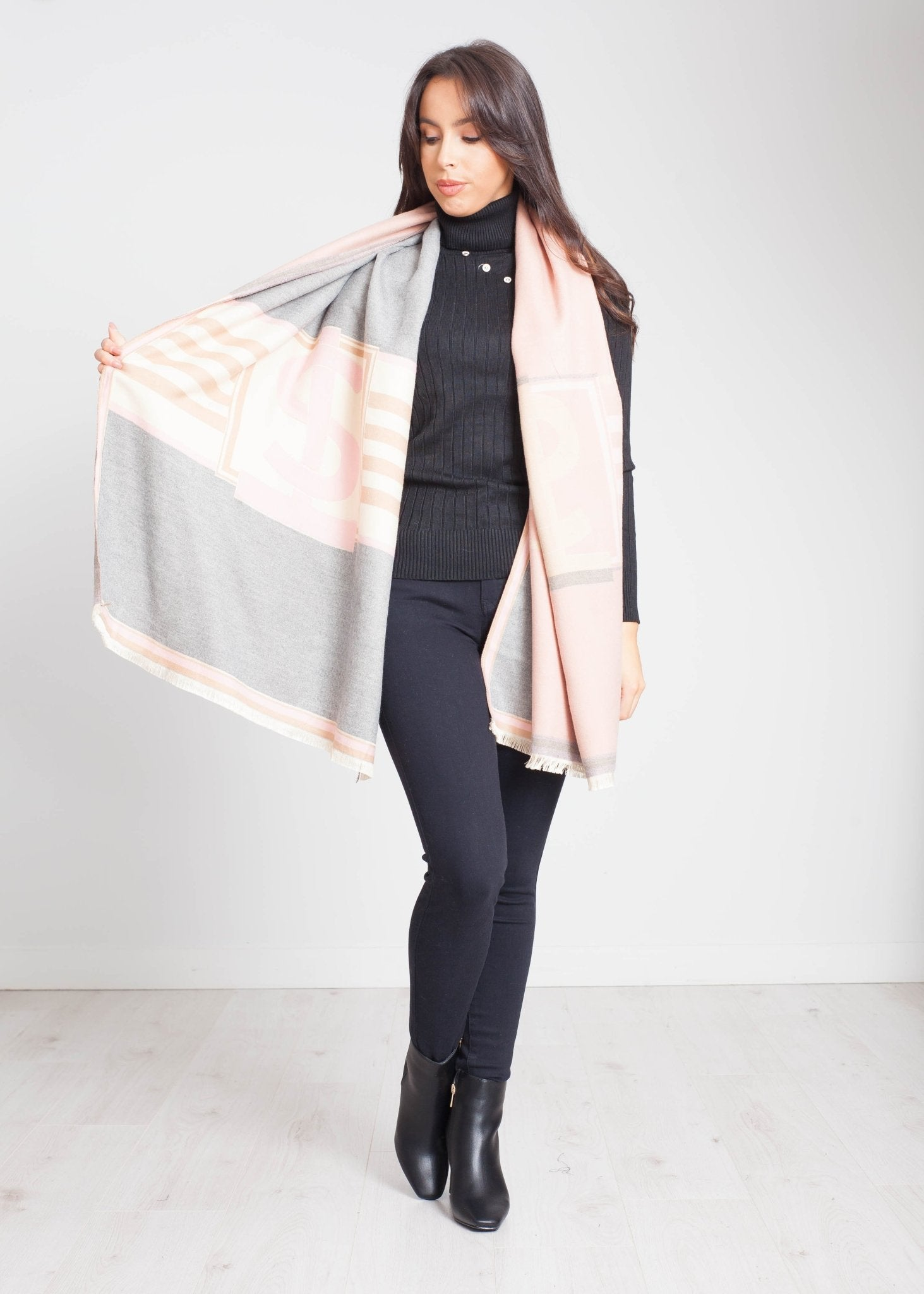 Blair Print Scarf In Grey Mix - The Walk in Wardrobe