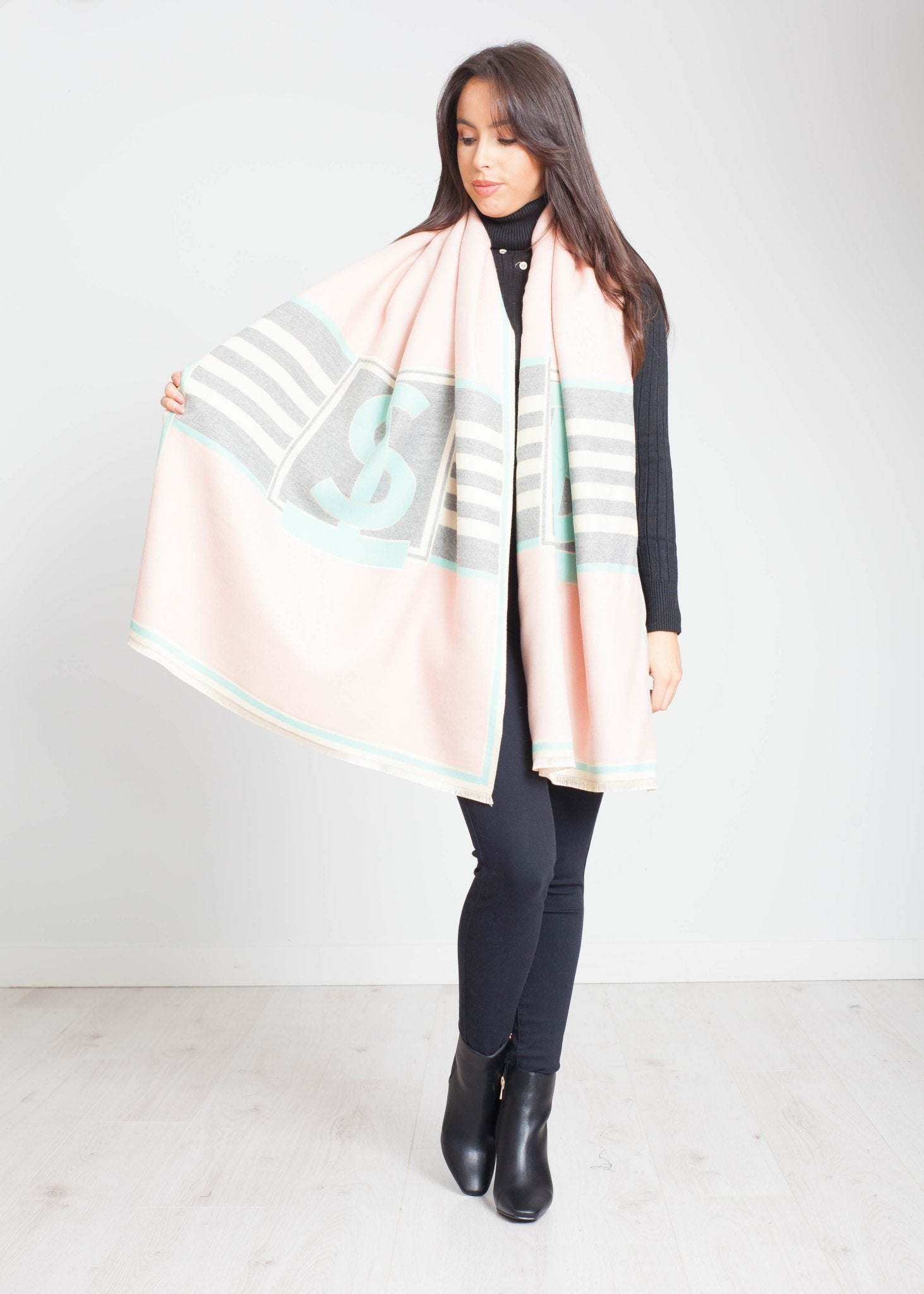 Blair Print Scarf In Pink Mix - The Walk in Wardrobe