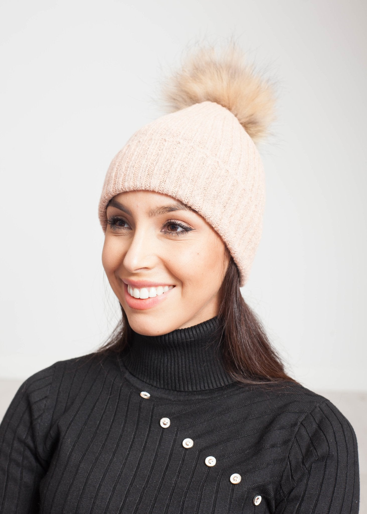 Blair Ribbed Hat In Blush - The Walk in Wardrobe