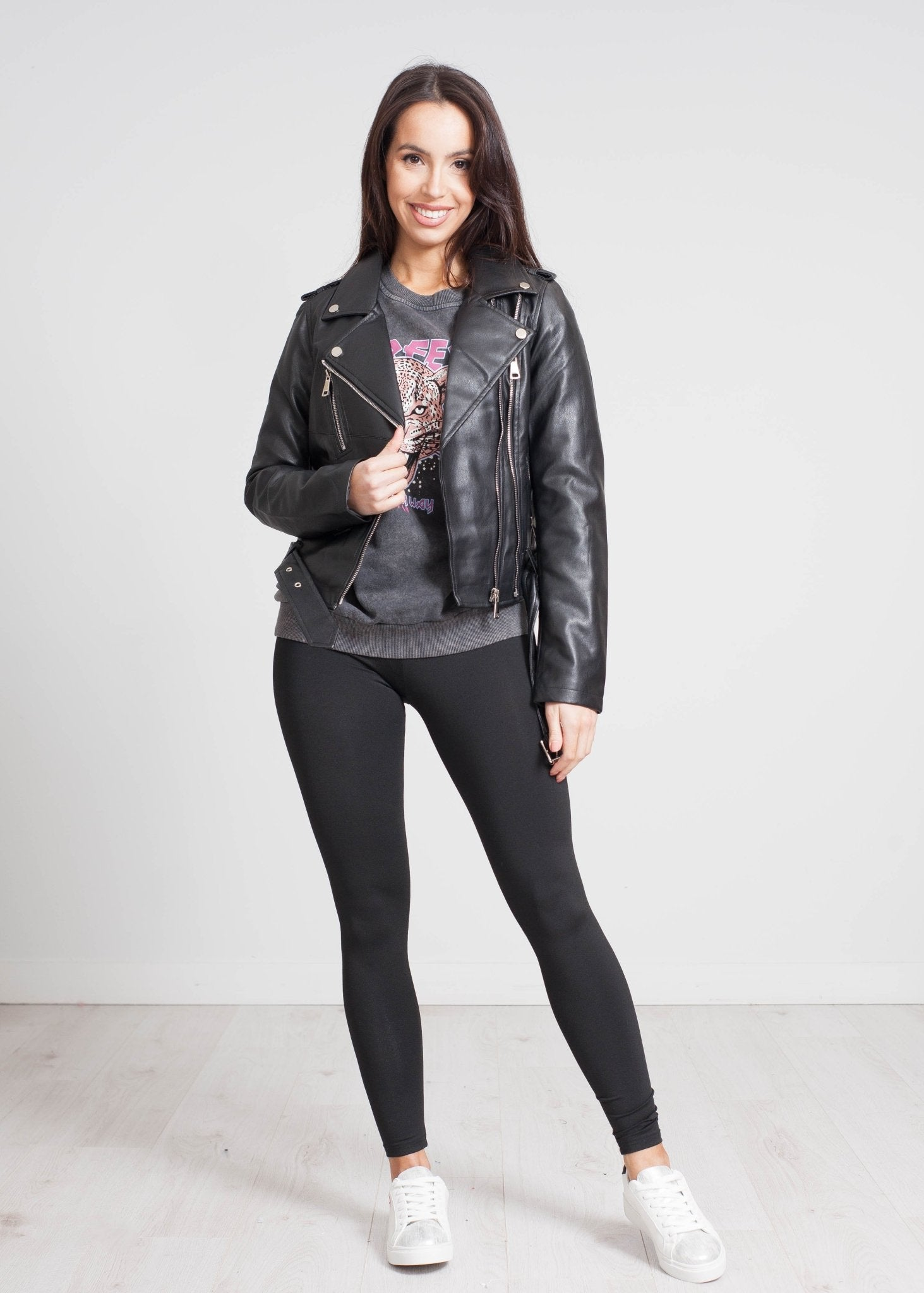 Caitlyn Belted Leather Jacket In Black - The Walk in Wardrobe