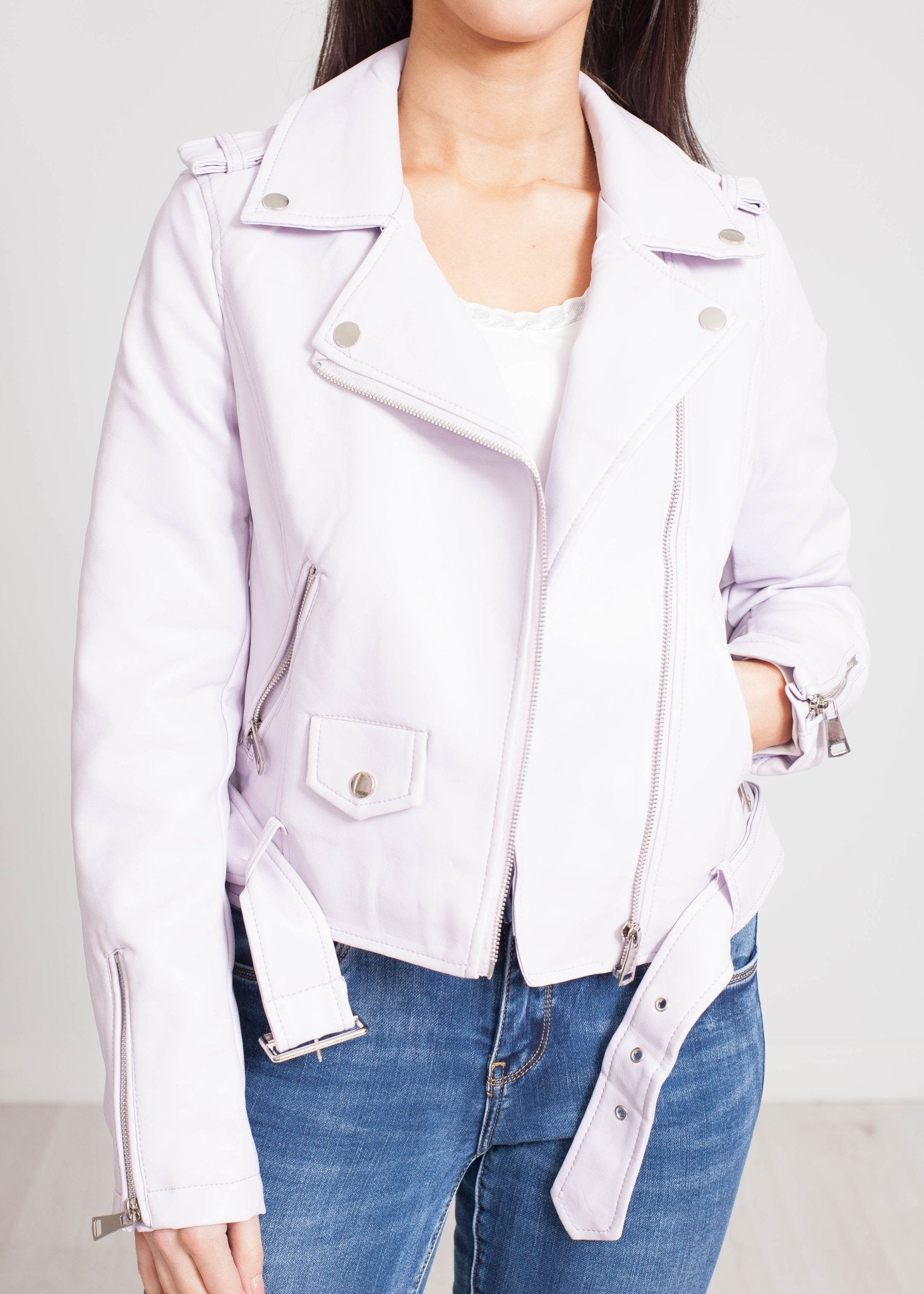 Caitlyn Belted Leather Jacket In Lilac - The Walk in Wardrobe