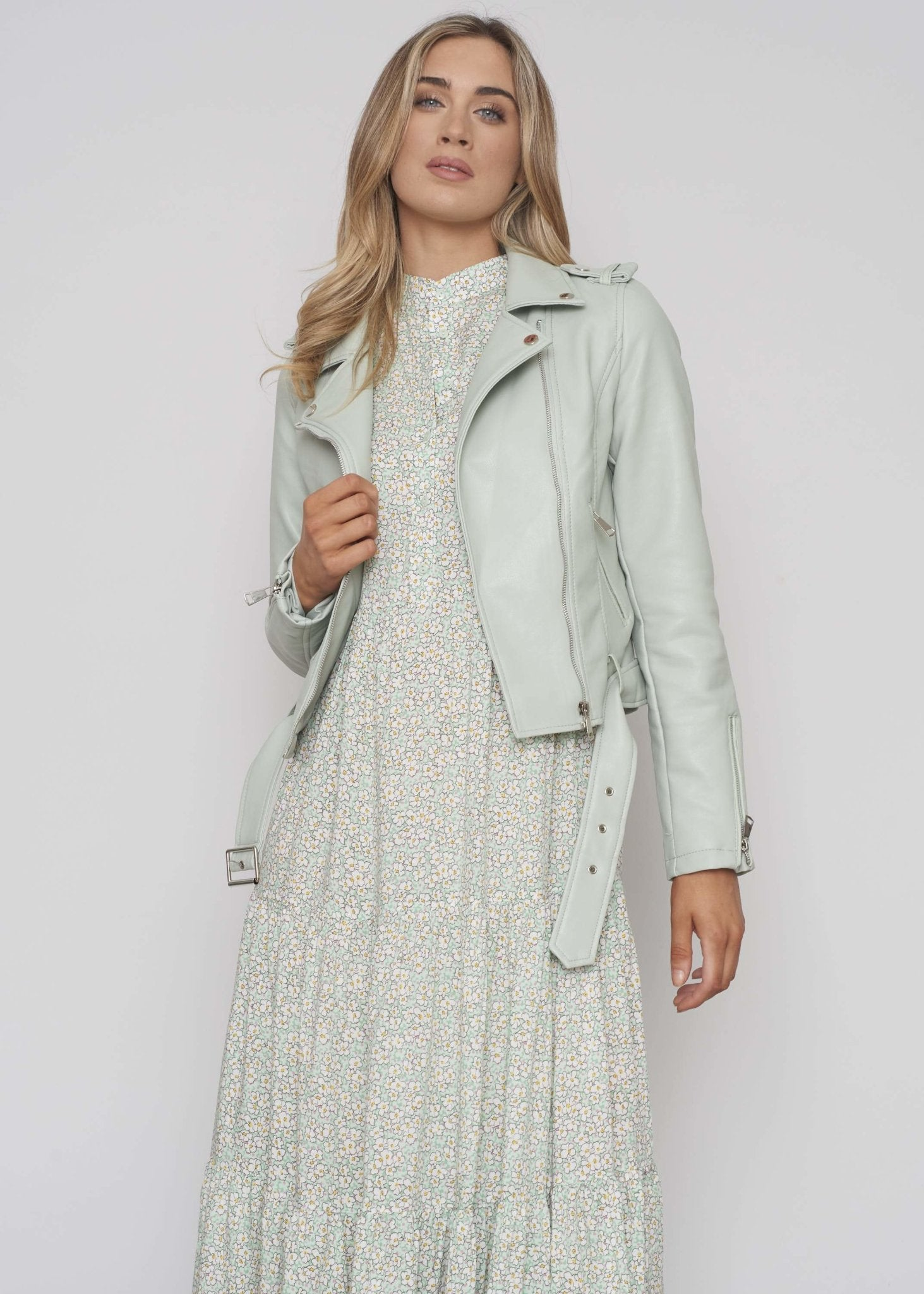 Caitlyn Belted Leather Jacket In Sage - The Walk in Wardrobe