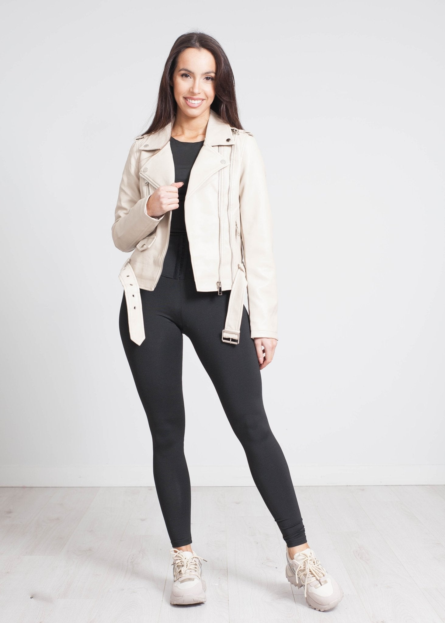 Caitlyn Belted Leather Jacket In Stone - The Walk in Wardrobe