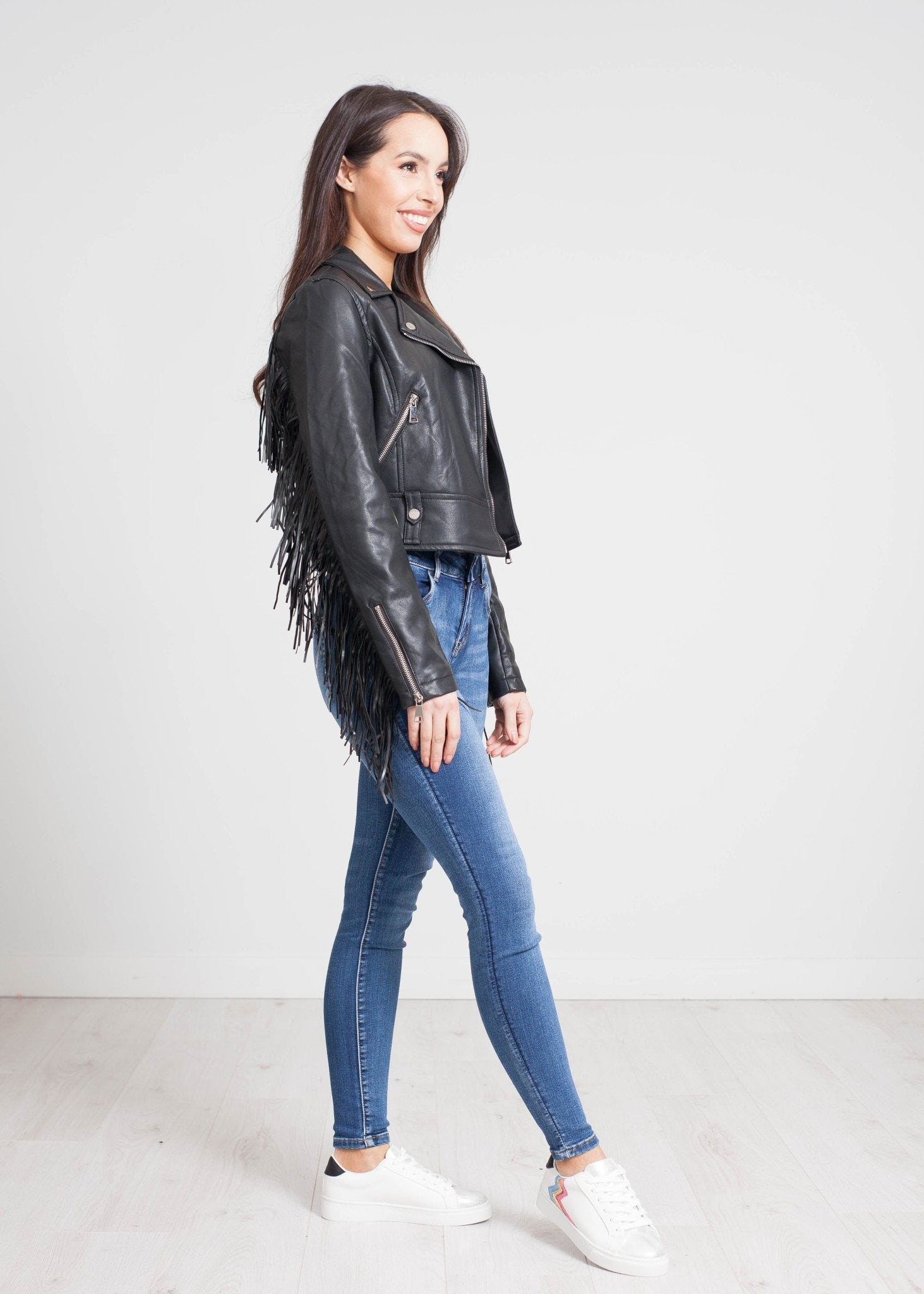 Caitlyn Fringed Leather Jacket In Black - The Walk in Wardrobe