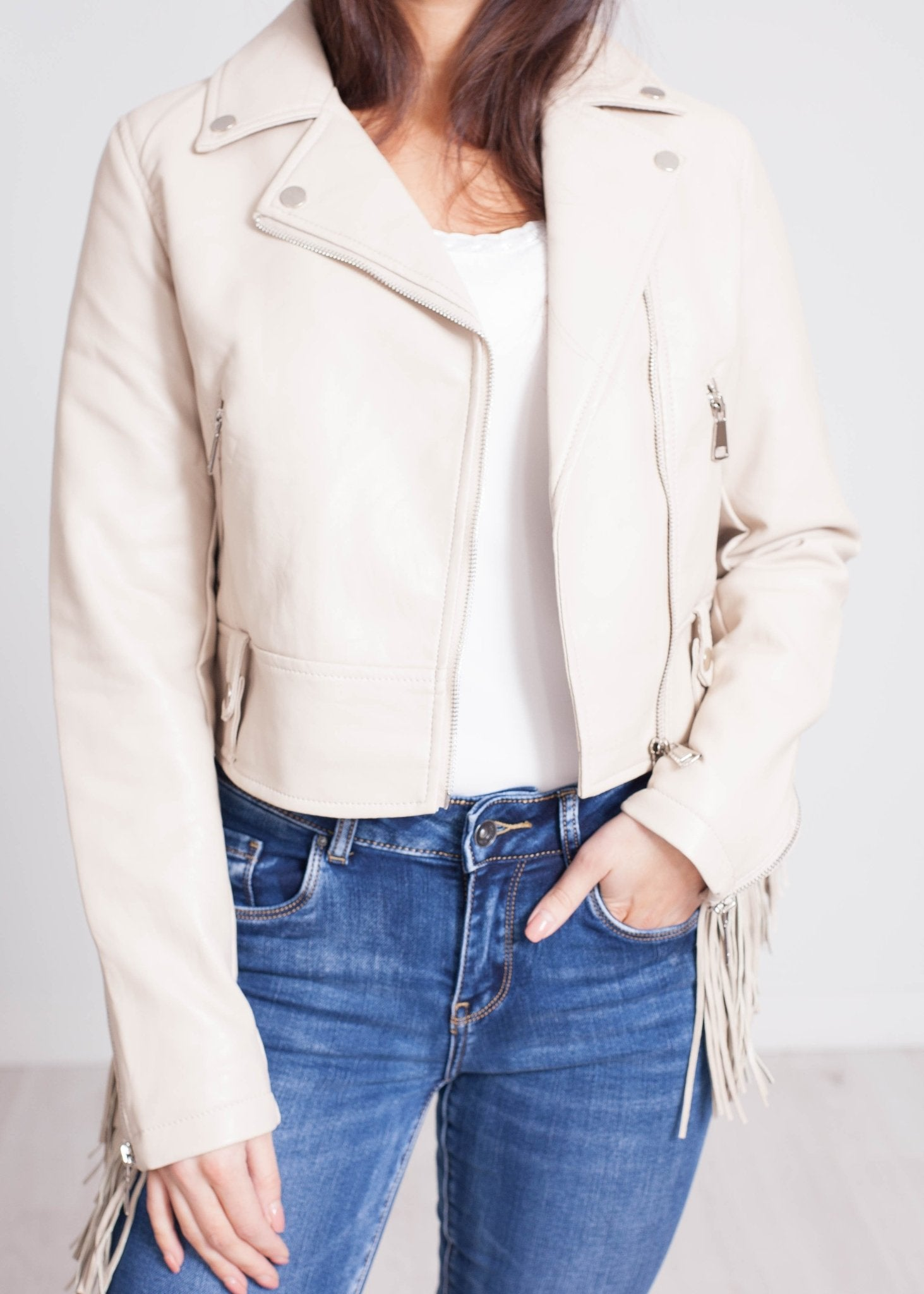 Caitlyn Fringed Leather Jacket In Stone - The Walk in Wardrobe