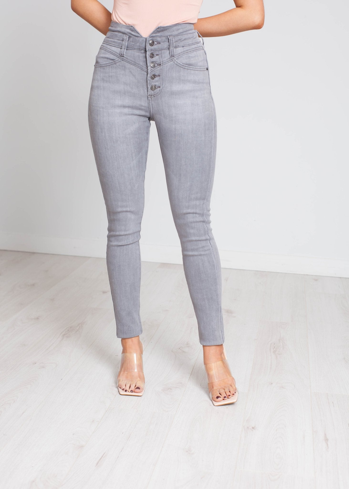 Camilla High Waist Button Jean In Grey - The Walk in Wardrobe