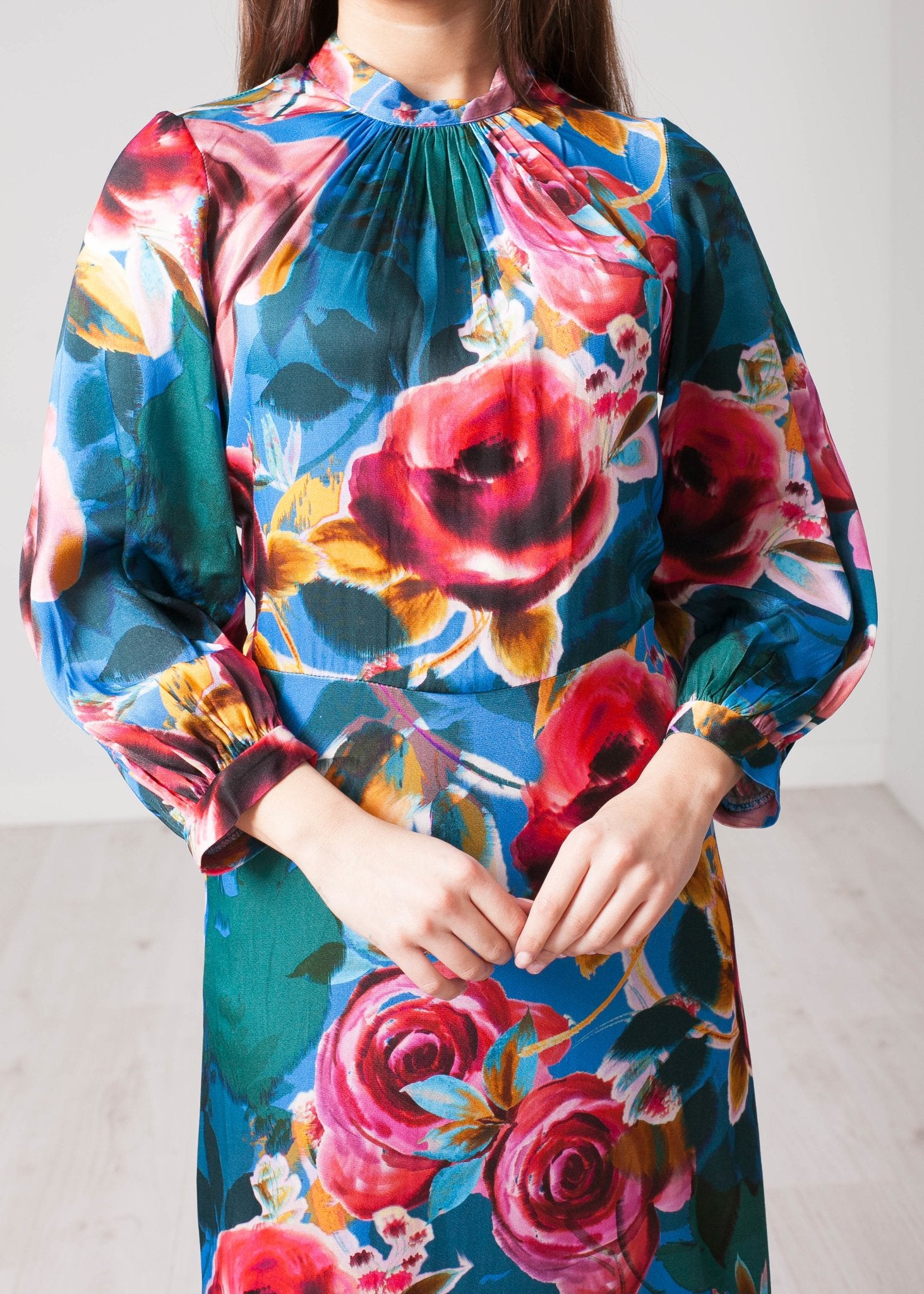 Cara Blue Floral Midi Dress - The Walk in Wardrobe