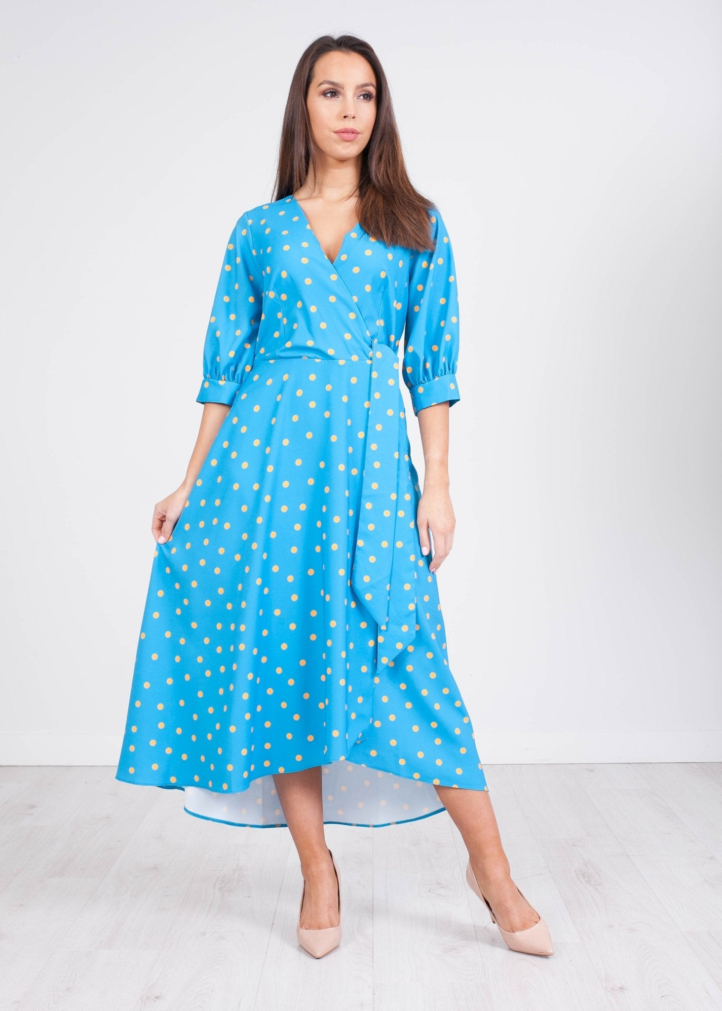 Cara Blue Polka Dot Wrap Dress - The Walk in Wardrobe