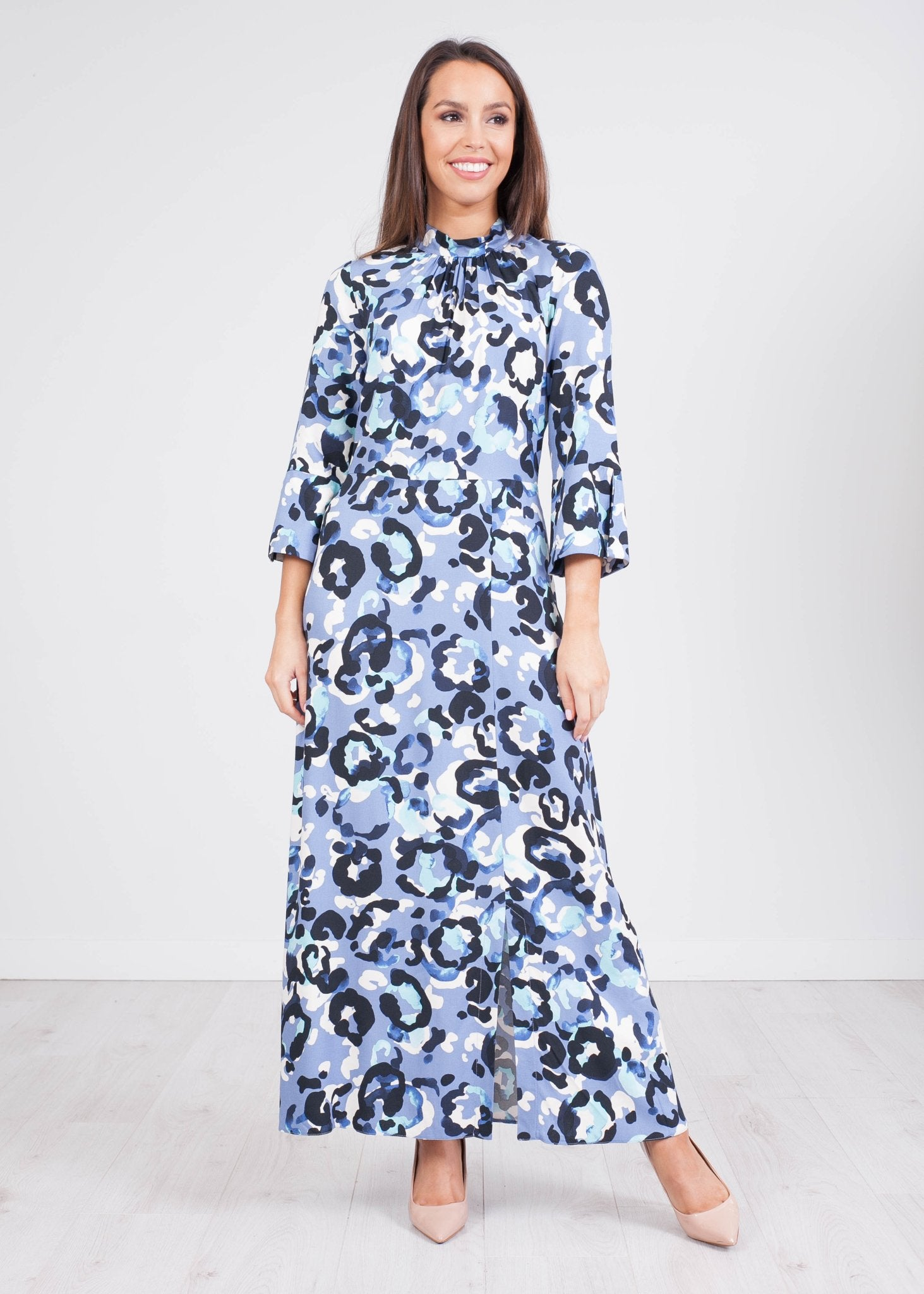 Cara Blue Printed A-Line Midi Dress - The Walk in Wardrobe