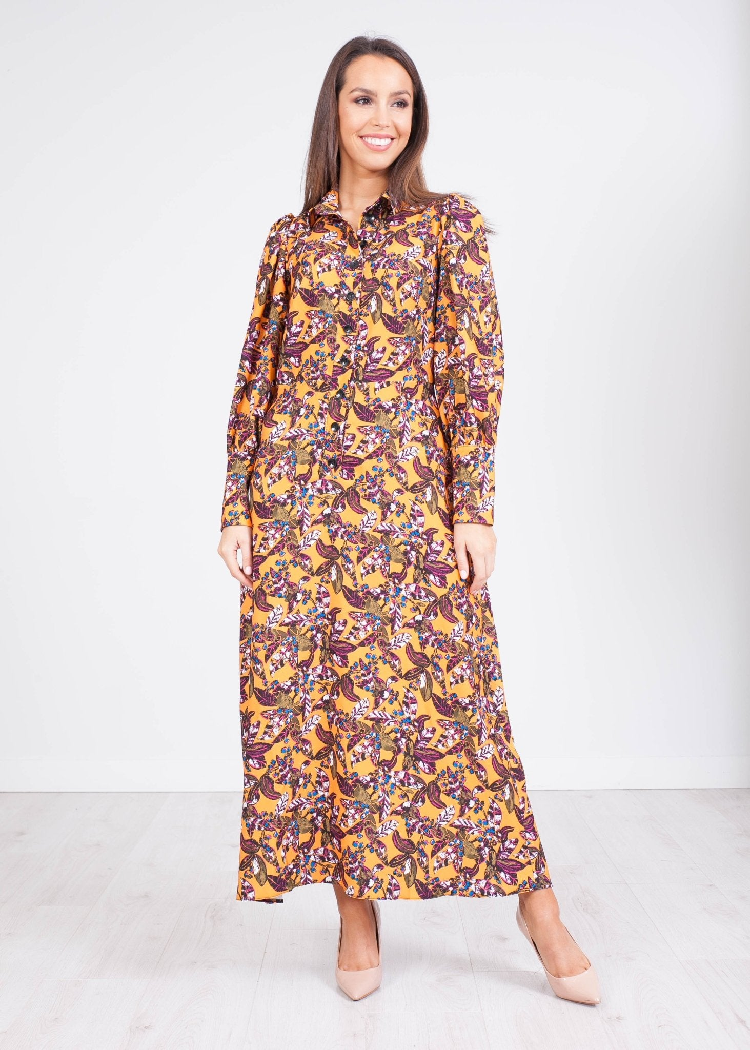 Cara Mustard Midi Dress - The Walk in Wardrobe