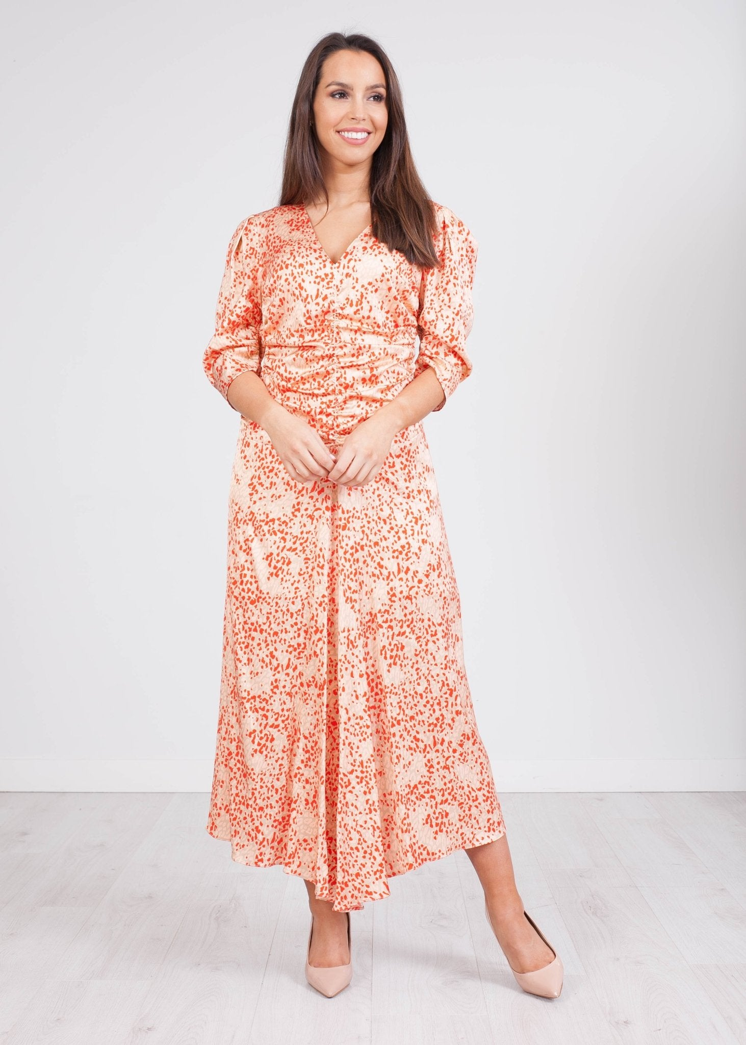 Carla Beige Amelia Print Dress - The Walk in Wardrobe
