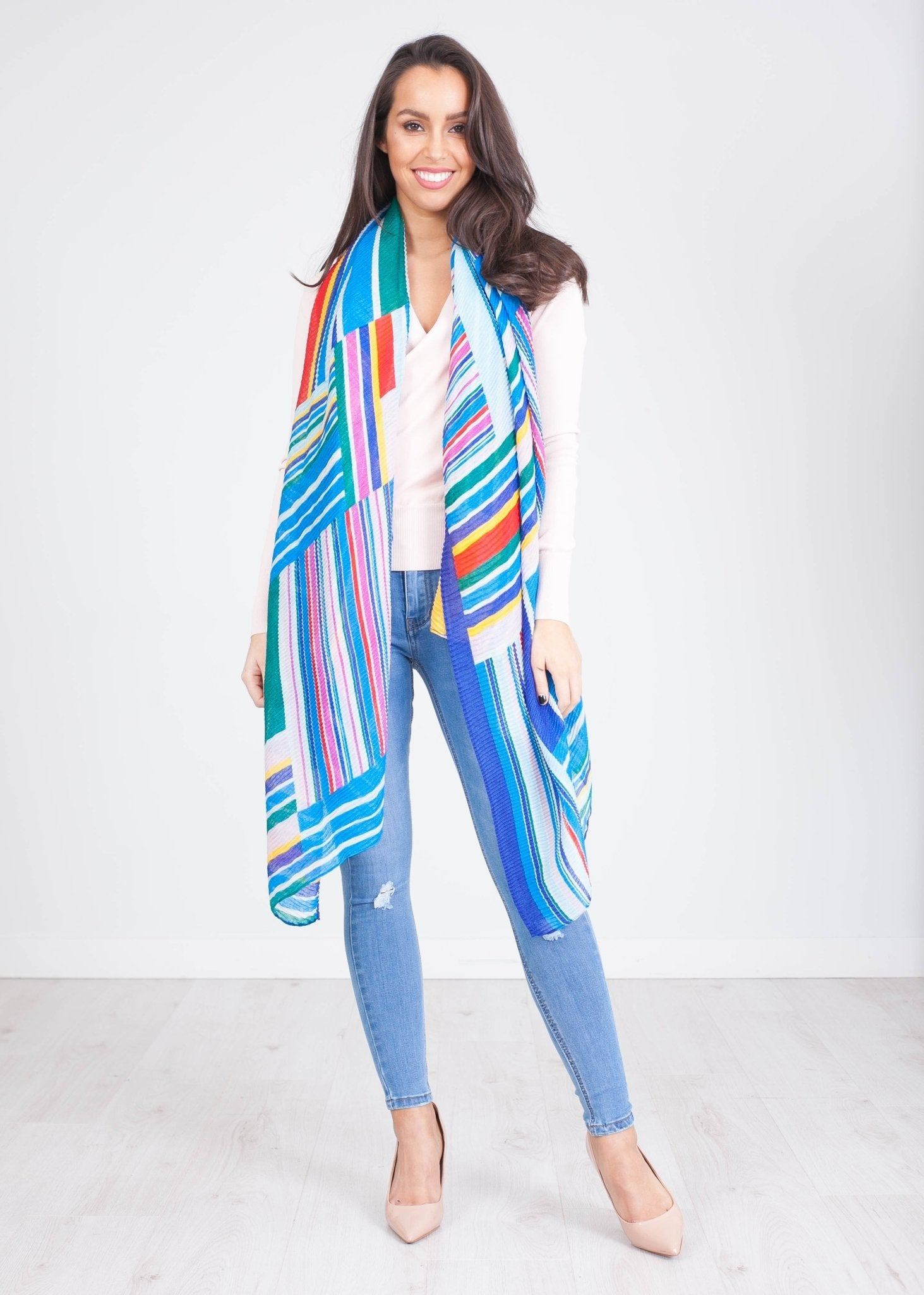 Carly Blue Pattern Scarf - The Walk in Wardrobe