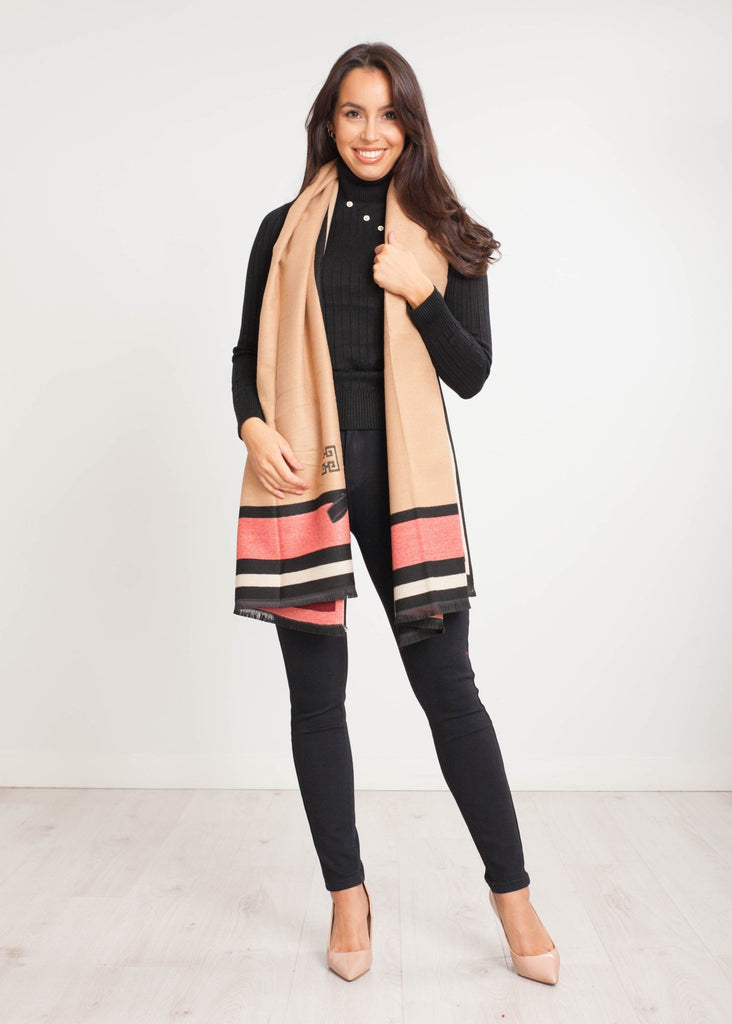 Carly Bow Scarf in Beige & Red - The Walk in Wardrobe