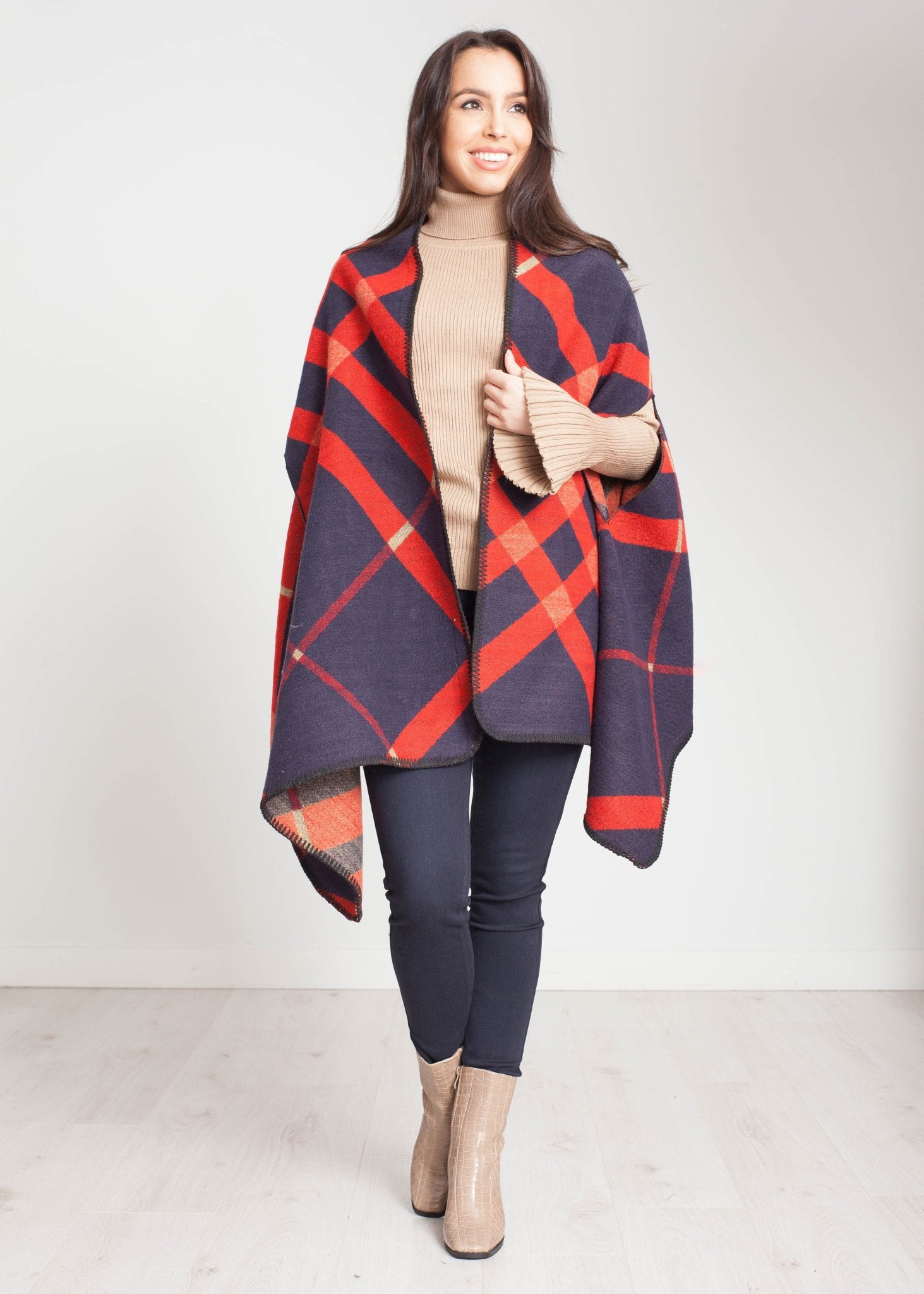 Carly Cape Style Scarf In Navy And Red - The Walk in Wardrobe