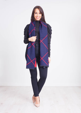 Carly Reversible Scarf in Red & Navy - The Walk in Wardrobe